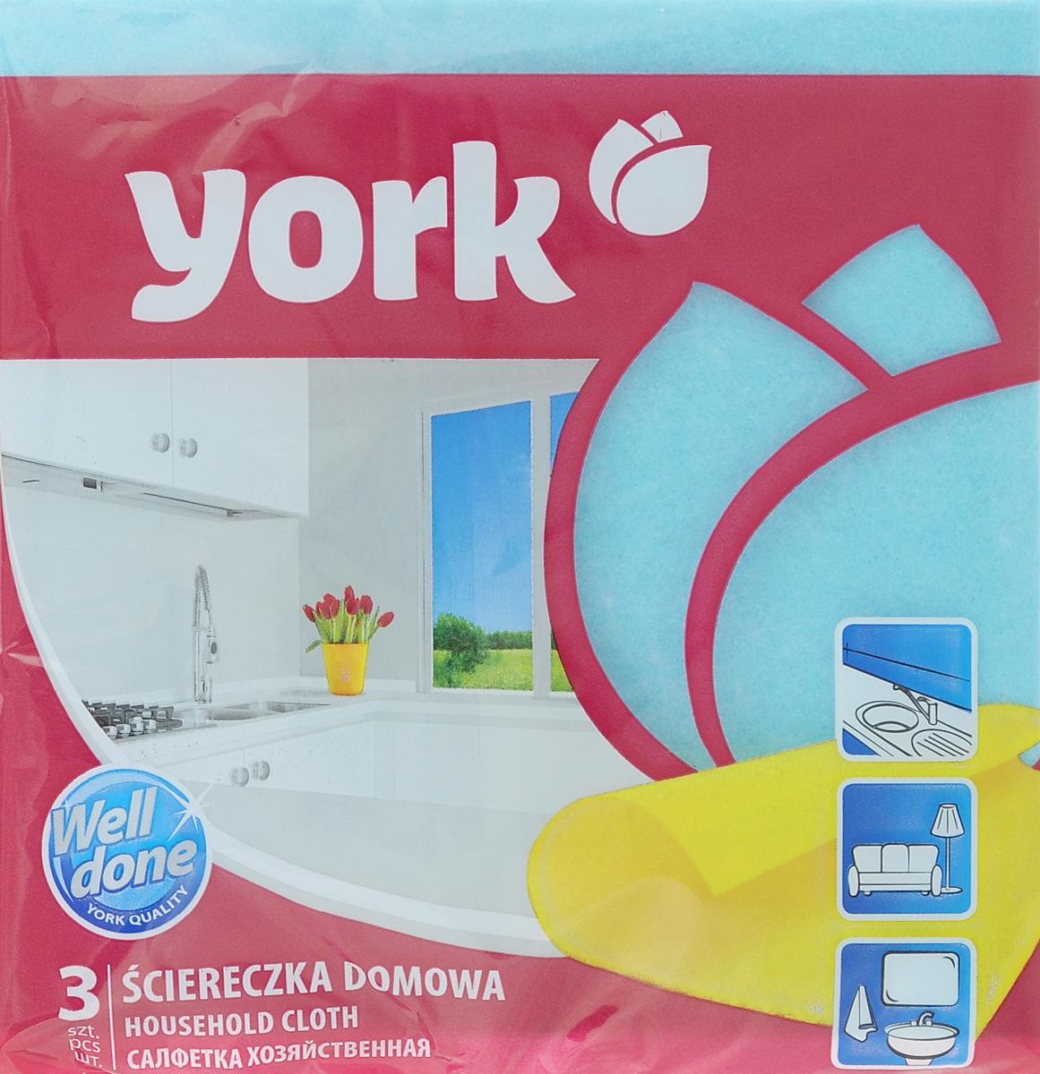 Салфетка хозяйственная York, цвет: голубой, 35 х 35 см, 3 шт2001_голубойСалфетка York, изготовленная из полипропиленового волокна и вискозы, предназначена для очищения загрязнений на любых поверхностях. Изделие обладает высокой износоустойчивостью и рассчитано на многократное использование, легко моется в теплой воде с мягкими чистящими средствами. Салфетка не оставляет разводов и ворсинок, удаляет большинство жирных и маслянистых загрязнений без использования химических средств.