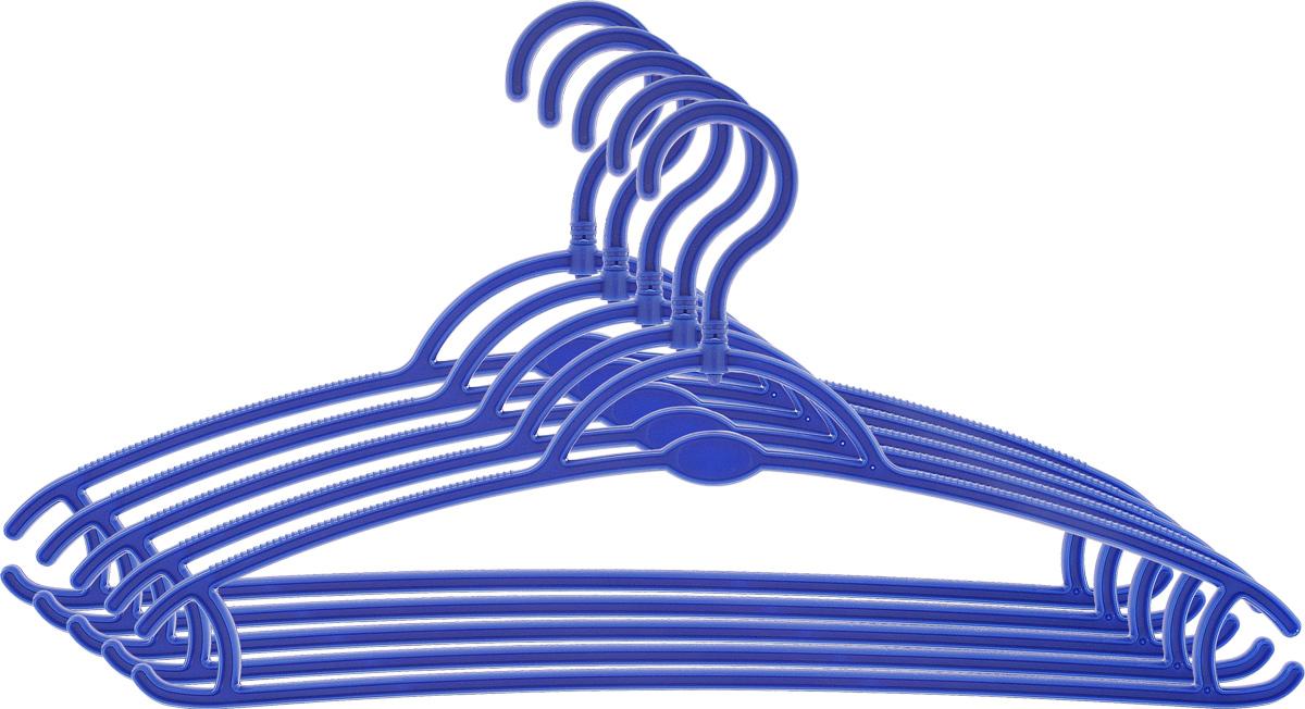 Вешалка для одежды York, вращающаяся, цвет: синий, 5 шт. 67016701_синийВешалка для одежды York изготовлена из прочного пластика. Наличие вращающегося крючка позволяет располагать вешалки под любым углом. Благодаря шероховатой поверхности, одежда не будет скользить и падать с вешалки. Изделие имеет перекладину, отверстие и два крючка. Подходит для брюк, блузок, шарфов, галстуков. Незаменимый аксессуар для аккуратного хранения вещей.