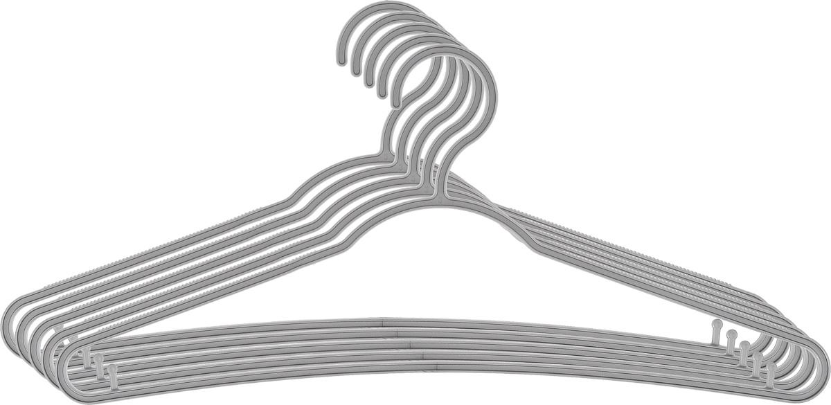 Вешалка для одежды York Стандарт, цвет: серый, 5 шт6700_серыйВешалка для одежды York Стандарт изготовлена из прочного пластика. Благодаря шероховатой поверхности, одежда не будет скользить и падать с вешалки. Изделие имеет перекладину и два крючка для юбок и брюк. Подходит для любой одежды. Незаменимый аксессуар для аккуратного хранения вещей.