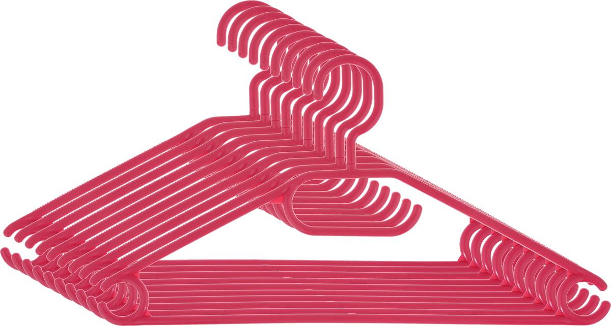 Вешалка для одежды York, вращающаяся, цвет: малиновый, 10 шт6709_малиновыйВешалка для одежды York изготовлена из прочного пластика ярких цветов. Наличие вращающегося крючка позволяет располагать вешалки под любым углом. Благодаря шероховатой поверхности, одежда не будет скользить и падать с вешалки. Изделие имеет перекладину и три крючка. Подходит для брюк, блузок, шарфов, галстуков. Незаменимый аксессуар для аккуратного хранения вещей.