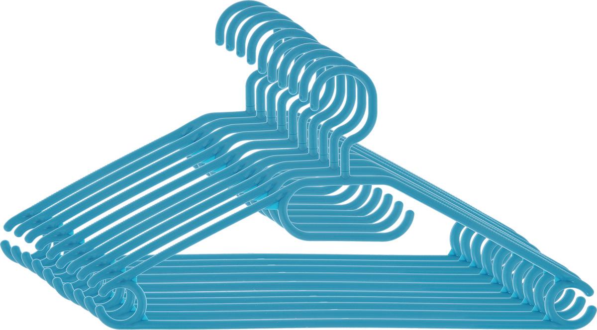 Вешалка для одежды York, вращающаяся, цвет: бирюзовый, 10 шт6709_бирюзовыйВешалка для одежды York изготовлена из прочного пластика ярких цветов. Наличие вращающегося крючка позволяет располагать вешалки под любым углом. Благодаря шероховатой поверхности, одежда не будет скользить и падать с вешалки. Изделие имеет перекладину и три крючка. Подходит для брюк, блузок, шарфов, галстуков. Незаменимый аксессуар для аккуратного хранения вещей.