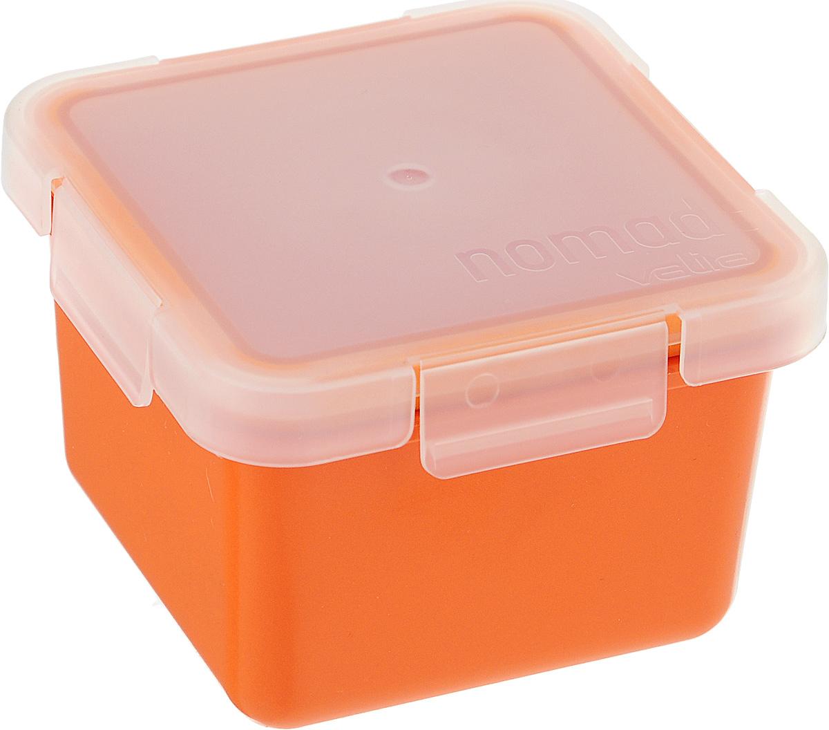 Контейнер пищевой Valira Nomad, цвет: оранжевый, 0,4 л6092/147Пищевой контейнер Valira Nomad - это надежный и удобный пищевой контейнер, выполненный из керамического пластика. Данный материал не содержит полипропилена, BPA и фталатов, что очень важно для здоровья. Контейнер оснащен крышкой с силиконовой прослойкой и защелками с четырех сторон. Полностью герметичен и водонепроницаем, отлично подходит даже для переноски жидких блюд. Не впитывает запахов и не окрашивается в цвет пищи, материал изделия приятен на ощупь. Контейнер подходит для ежедневного использования на работе или учебе, а также для отдыха на природе. Благодаря компактным размерам его удобно взять с собой в поездку или путешествие. Контейнер можно использовать для разогревания пищи в микроволновой печи, а также для замораживания продуктов до -20°С. Легко моется в посудомоечной машине.