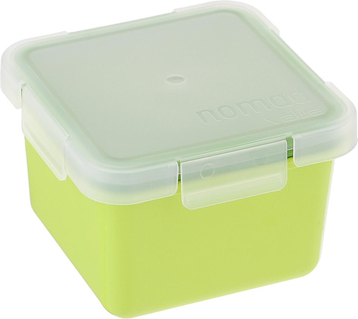 Контейнер пищевой Valira Nomad, цвет: салатовый, 0,4 л6092/147Пищевой контейнер Valira Nomad - это надежный и удобный пищевой контейнер, выполненный из керамического пластика. Данный материал не содержит полипропилена, BPA и фталатов, что очень важно для здоровья. Контейнер оснащен крышкой с силиконовой прослойкой и защелками с четырех сторон. Полностью герметичен и водонепроницаем, отлично подходит даже для переноски жидких блюд. Не впитывает запахов и не окрашивается в цвет пищи, материал изделия приятен на ощупь. Контейнер подходит для ежедневного использования на работе или учебе, а также для отдыха на природе. Благодаря компактным размерам его удобно взять с собой в поездку или путешествие. Контейнер можно использовать для разогревания пищи в микроволновой печи, а также для замораживания продуктов до -20°С. Легко моется в посудомоечной машине.