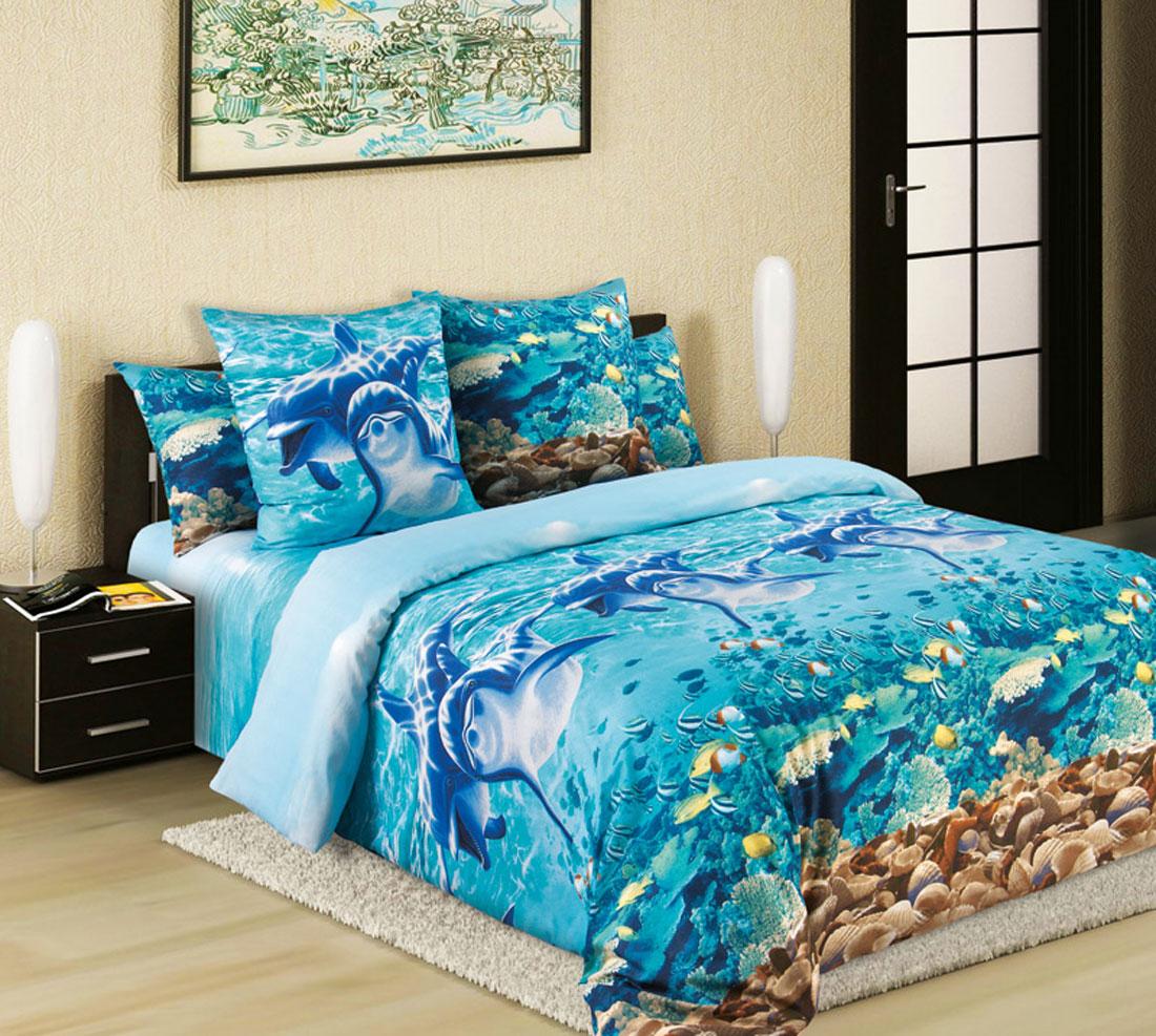 Комплект белья ТексДизайн Дельфины, 1,5-спальный, наволочки 70х70, цвет: бирюзовый, синий, голубой1200ПКомплект белья ТексДизайн Дельфины изготовлено из перкаля премиум класса - экологически чистой ткани на основе натурального хлопка. Комплект состоит из пододеяльника, простыни и двух наволочек. Постельное белье оформлено ярким 3D рисунком. Перкаль - это тонкая и легкая хлопчатобумажная ткань высокой плотности полотняного переплетения, сотканная из пряжи высоких номеров. При изготовлении перкаля используются длинноволокнистые сорта хлопка, что обеспечивает высокие потребительские свойства материала. Перкаль очень шелковистая и мягкая на ощупь ткань, нежная и тонкая, но при этом удивительно прочная. Несмотря на свою утонченность, перкаль очень практичен - это одна из самых износостойких тканей для постельного белья. Королевское искушение - коллекция постельного белья, которое открывает для вас волшебный мир ярких дизайнов: на ваших глазах расцветают сказочные цветы, изящные линии сплетаются в волшебные узоры, напоминающие настоящее...