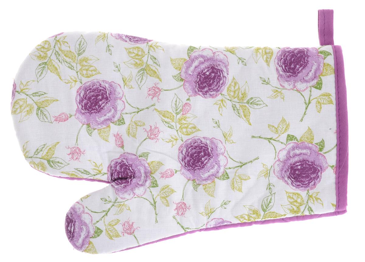 Варежка-прихватка Primavelle Фиолетовые цветы, 17 х 26 см5851833-35_фиолетовые цветыВарежка-прихватка Primavelle - незаменимый помощник на любой кухне. Варежка выполнена из натурального 100% хлопка и оформлена красивым цветочным принтом с передней стороны. Задняя сторона простегана, что позволяет наполнителю не скатываться со временем. Варежка мягкая, удобная и практичная. С ее помощью можно доставать горячие противни из духовки, она защитит ваши руки при контакте с горячими предметами. Красочный дизайн позволит красиво дополнить интерьер кухни. С помощью петельки варежку можно подвесить на крючок.