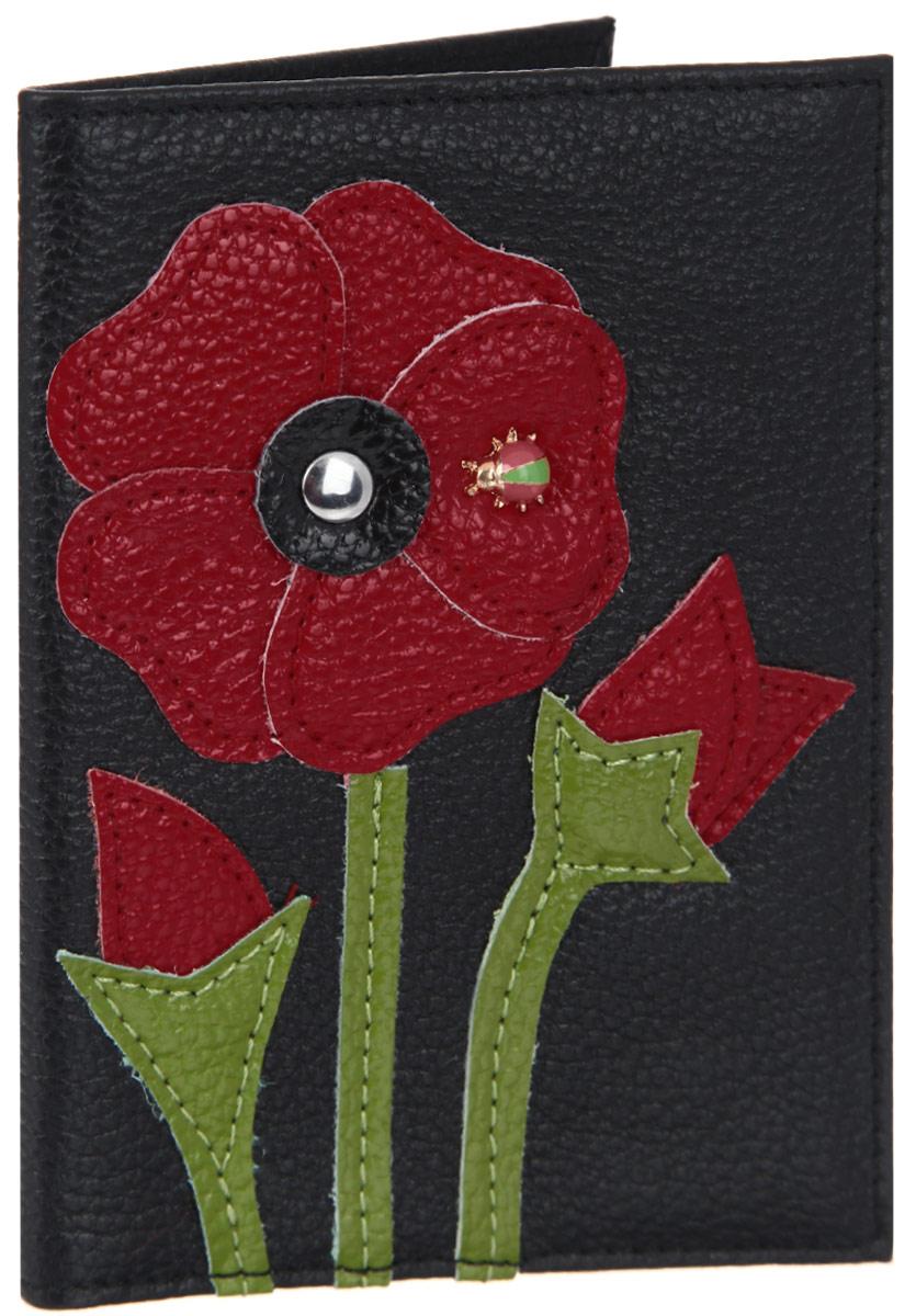 Обложка для паспорта женская Cheribags, цвет: черный, красный, зеленый. OP-32OP-32Оригинальная обложка для паспорта Cheribags выполнена из натуральной кожи с зернистой фактурой и оформлена аппликацией из кожи в виде цветка, на лепестке которого сидит божья коровка. Изделие раскладывается пополам. Внутри расположены два накладных кармана из пластика. Обложка для паспорта Cheribags поможет сохранить внешний вид ваших документов и защитить их от повреждений, а также станет стильным аксессуаром, который подчеркнет ваш образ.