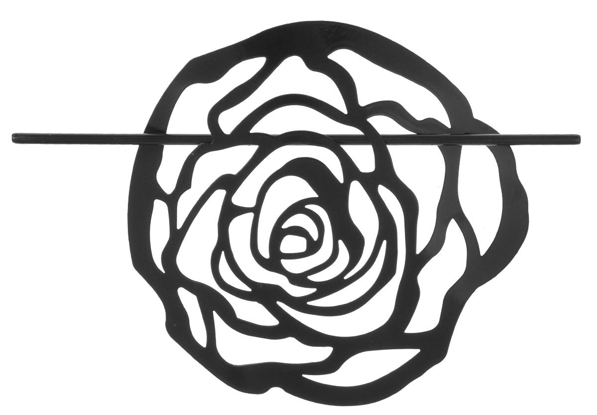 Заколка для штор Мир Мануфактуры, цвет: черный697020_4 черныйЗаколка Мир Мануфактуры, выполненная из высококачественного металла, предназначена для фиксации штор или для формирования декоративных складок на ткани. С ее помощью можно зафиксировать шторы или скрепить их, придать им требуемое положение, сделать симметричные складки. Заколка для штор является универсальным изделием, которое превосходно подойдет для любых видов штор. Заколка придаст шторам восхитительный, стильный внешний вид и добавит уют в интерьер помещения. Размер декоративного элемента: 16,5 см х 16,2 см. Длина палочки: 23 см.