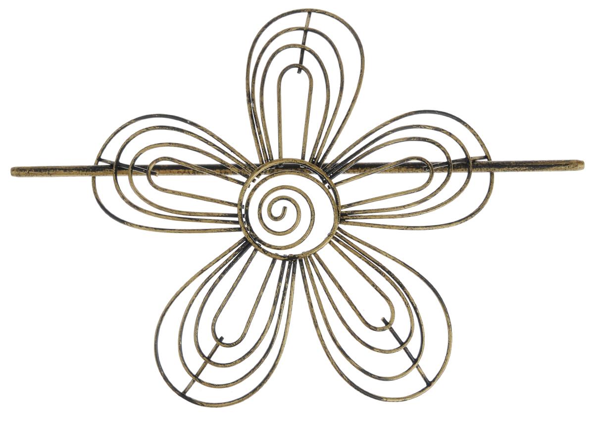 Заколка для штор Мир Мануфактуры, цвет: черный, бронзовый697018_4 черный/бронзаЗаколка для штор Мир Мануфактуры выполнена из металла в виде цветка. Заколка - это основной вид фурнитуры в декоре штор, сочетающий в себе не только декоративную функцию, но и практическую - регулировать поток света. Заколки для штор способны украсить любую комнату. Размер декоративной части: 16 см х 16,3 см. Длина палочки: 23 см.