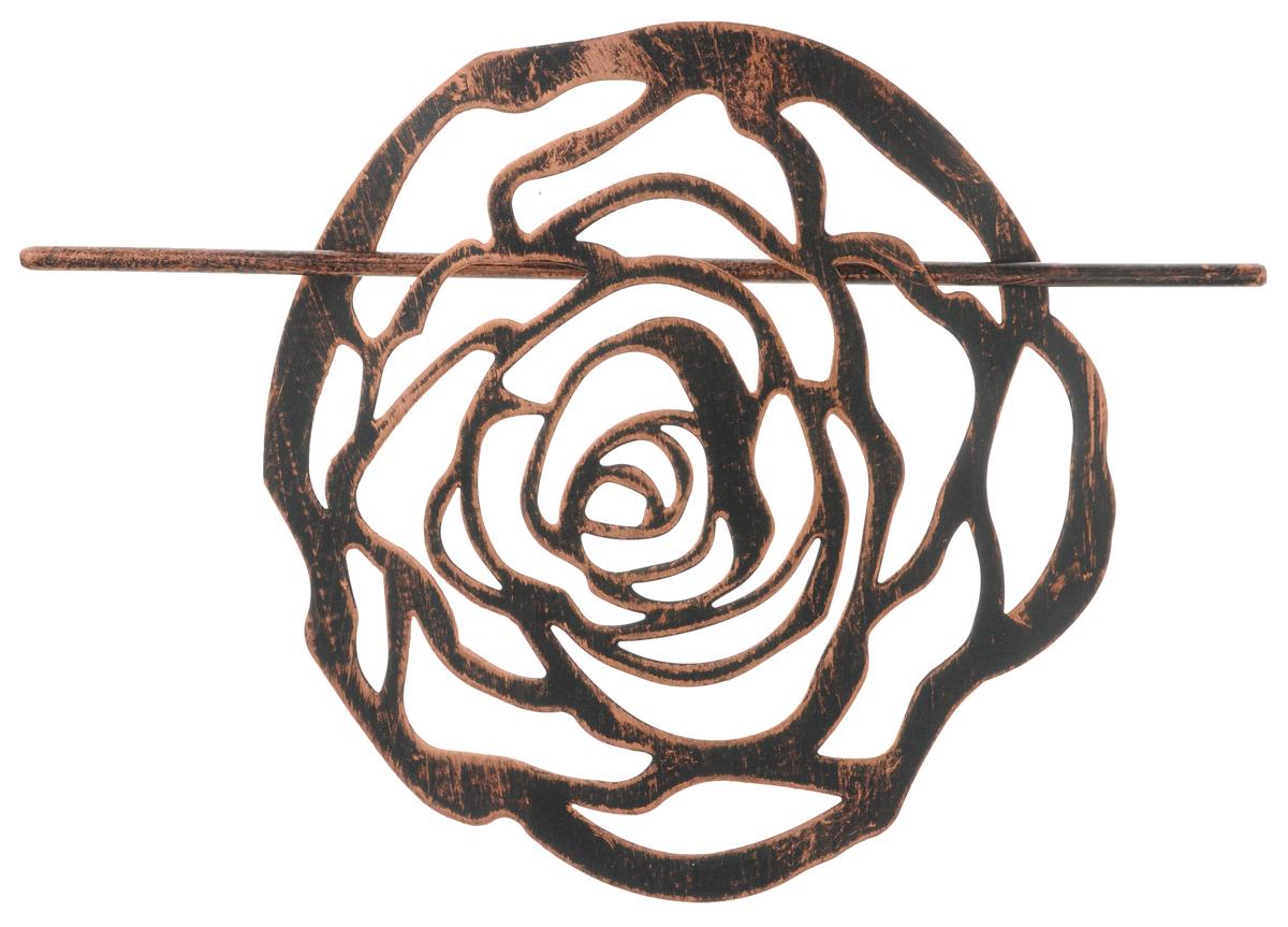 Заколка для штор Мир Мануфактуры, цвет: черный, медный697020_6 черный/медьЗаколка Мир Мануфактуры, выполненная из высококачественного металла, предназначена для фиксации штор или для формирования декоративных складок на ткани. С ее помощью можно зафиксировать шторы или скрепить их, придать им требуемое положение, сделать симметричные складки. Заколка для штор является универсальным изделием, которое превосходно подойдет для любых видов штор. Заколка придаст шторам восхитительный, стильный внешний вид и добавит уют в интерьер помещения. Размер декоративного элемента: 16,5 см х 16,2 см. Длина палочки: 23 см.