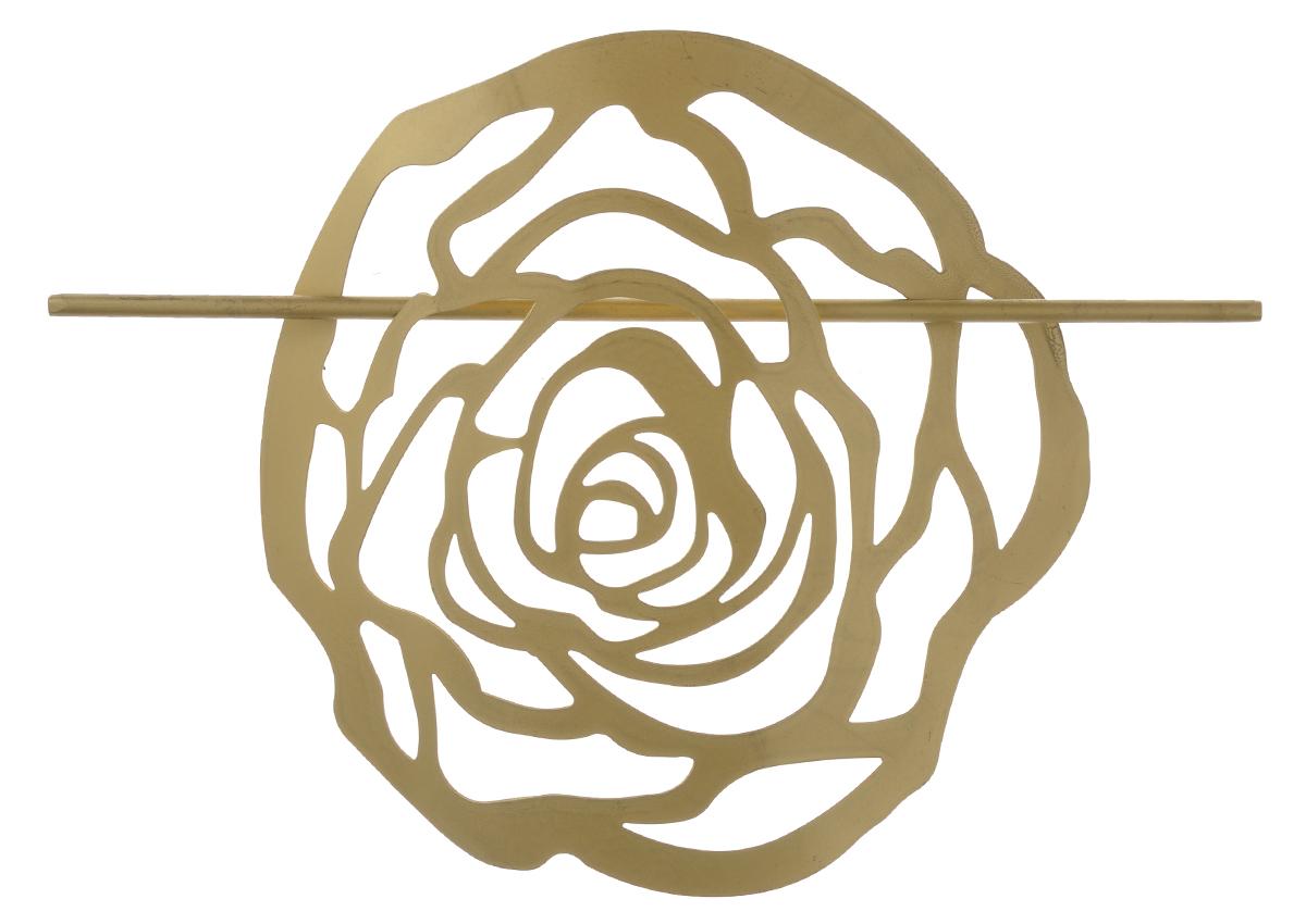 Заколка для штор Мир Мануфактуры, цвет: золотистый697020_2 золотистыйЗаколка Мир Мануфактуры, выполненная из высококачественного металла, предназначена для фиксации штор или для формирования декоративных складок на ткани. С ее помощью можно зафиксировать шторы или скрепить их, придать им требуемое положение, сделать симметричные складки. Заколка для штор является универсальным изделием, которое превосходно подойдет для любых видов штор. Заколка придаст шторам восхитительный, стильный внешний вид и добавит уют в интерьер помещения. Размер декоративного элемента: 16,5 см х 16,2 см. Длина палочки: 23 см.