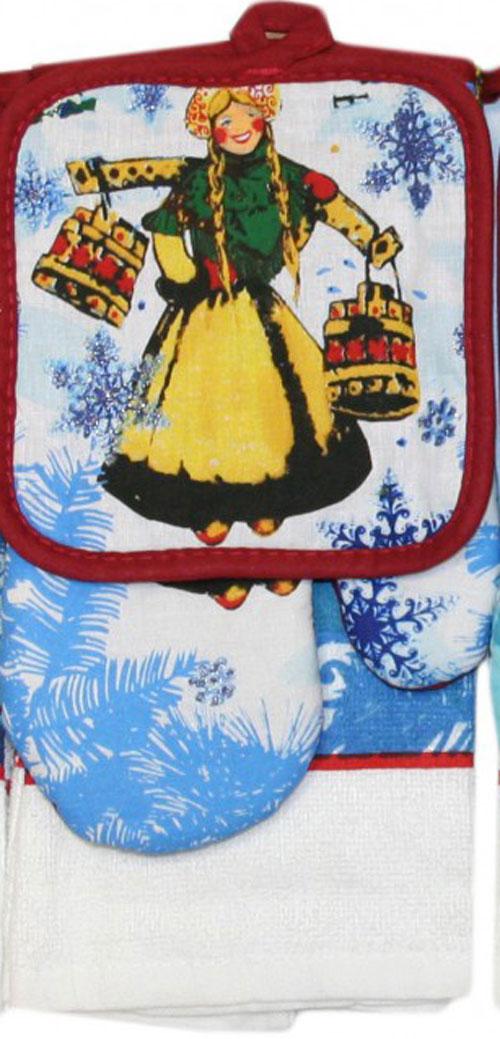 """Подарочный набор для кухни Bonita """"Девушка с коромыслом"""", 3 предмета"""