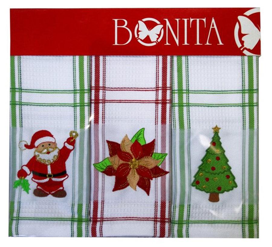 Набор полотенец Bonita Санта, звезда, елка, 45 х 70 см, 3 шт101310930Набор полотенец Bonita Санта, звезда, елка, изготовленный из натурального хлопка, идеально дополнит интерьер вашей кухни и создаст атмосферу уюта и комфорта. В набор входят три вафельных полотенца, которые оформлены вышивкой в виде новогодних изображений. Изделия выполнены из натурального материала, поэтому являются экологически чистыми. Высочайшее качество материала гарантирует безопасность не только взрослых, но и самых маленьких членов семьи.