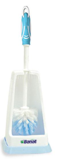 Комплект для туалета Banat, цвет: белый, голубой730228_белый, голубойНапольный комплект для туалета Banat состоит из ершика и подставки. Подставка с устойчивым квадратным дном эстетично закрывает ерш, широкое отверстие позволяет ему просушиваться. Ершик оснащен жесткой щетиной, которая эффективно удаляет загрязнения. Удобная рукоятка снабжена противоскользящими резиновыми вставками. В подвешенном виде ворс не сминается во время хранения. Напольный комплект для туалета Banat прекрасно дополнит интерьера уборной и послужит функционально. Размер подставки: 13 см х 13 см х 22 см. Длина ершика: 34 см. Длина ворса: 2,5 см.