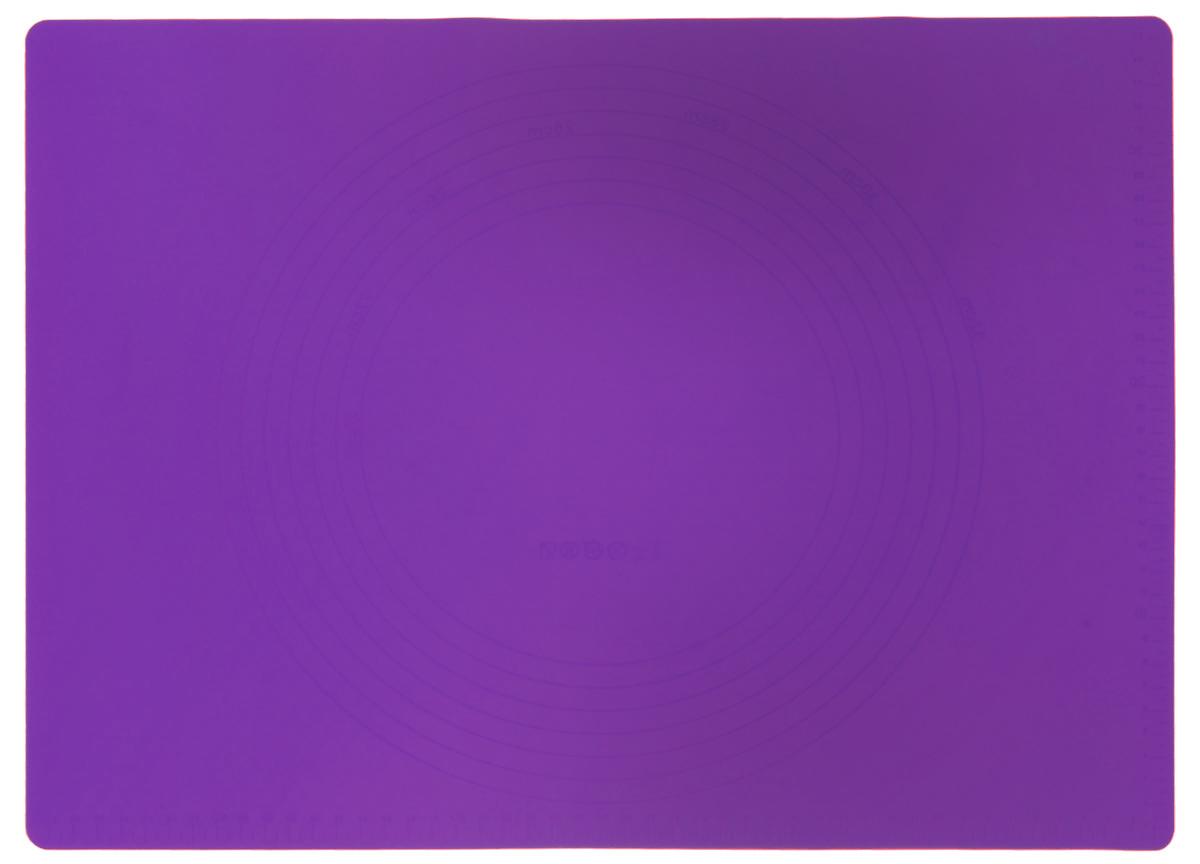 Коврик для теста Marmiton, силиконовый, цвет: фиолетовый, 48 см х 36 см17010_фиолетовыйСиликоновый коврик Marmiton подходит для раскатки теста и обработки других продуктов. Он идеально прилегает к поверхности стола. Также коврик можно использовать в духовках и микроволновых печах при температуре от -40°С до +240°С. Материал легко моется, устойчив к фруктовым кислотам. Коврик оснащен мерной шкалой по краю и круглым шаблоном для теста по центру. Раскатывая тесто на таком коврике, вы всегда сможете придать ему нужный размер.