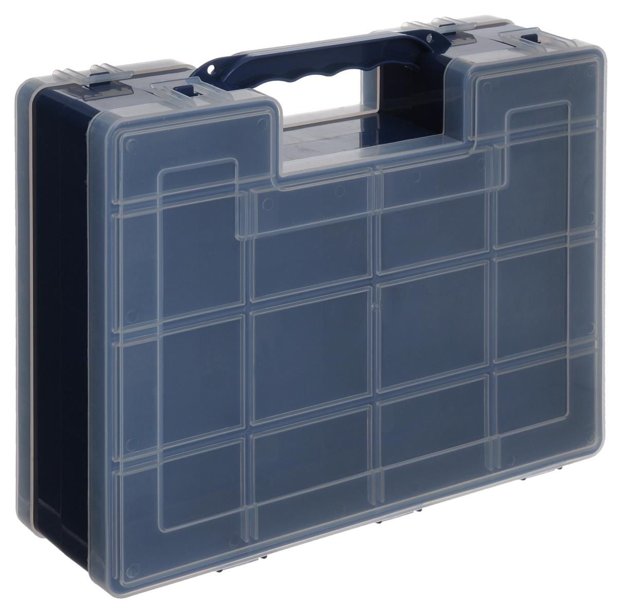 Органайзер для инструментов Idea, двухсторонний, цвет: синий, 27,2 см х 21,7 см х 6,7 смМ 2956_синийДвухсторонний органайзер Idea, изготовленный из пластика, выполнен в форме кейса. Органайзер служит для хранения и переноски инструментов. Внутри - 14 отделений с одной стороны и 9 с другой. Органайзер надежно закрывается при помощи пластмассовых защелок. Крышка выполнена из прозрачного пластика, что позволяет видеть содержимое. Размеры секций (лицевая сторона): - размер (12 секций): 6,6 см х 5,3 см х 3 см; - размер (2 секций): 8,1 см х 3,3 см х 3 см. Размеры секций (задняя сторона): - размер (2 секций): 13,2 см х 5,3 см х 3 см; - размер (1 секции): 26,6 см х 5,3 см х 3 см; - размер (4 секций): 6,6 см х 5,3 см х 3 см; - размер (2 секций): 8,1 см х 3,3 см х 3 см.