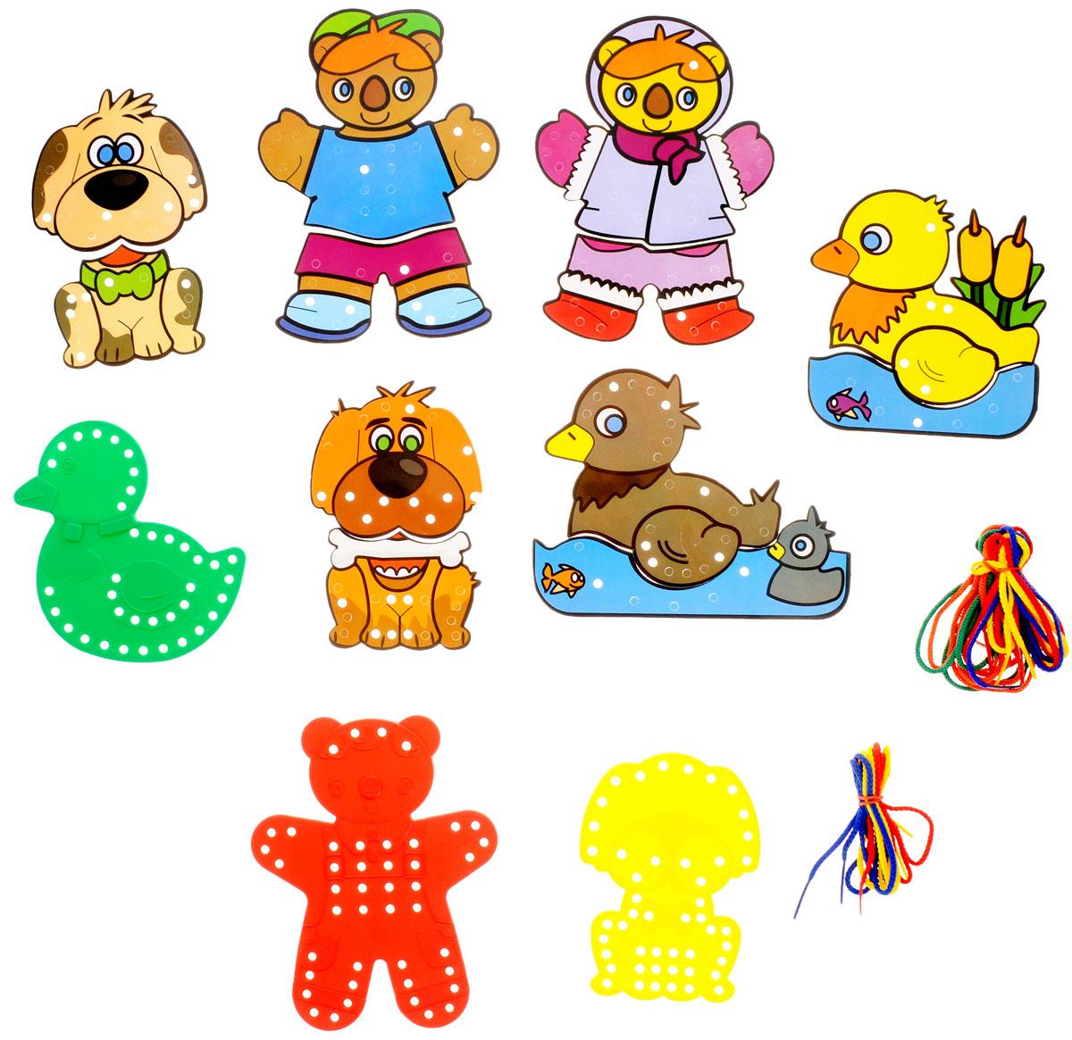 Miniland Игра-шнуровка Животные Собака утка медведь31794_собачка, утка, медвежонокИгра-шнуровка Miniland, несомненно, привлечет внимание вашего малыша. Вместе с пластиковыми основами в виде уточки, медвежонка и собачки игра включает дополнительные разноцветные элементы разной формы, которые накладываются на основы и прикрепляются с помощью цветных шнурочков. Для каждого элемента предусмотрено свое место, которое должен определить малыш. Занимательная игра-шнуровка помогает малышам развить моторику рук, зрительный аппарат, логическое мышление и фантазию. В комплект входят три пластиковые основы, 9 цветных шнурочков и 12 ярких элементов, которые позволят создать забавные и неповторимые образы зверюшек. Игра поставляется в удобном картонном чемоданчике с ручкой.