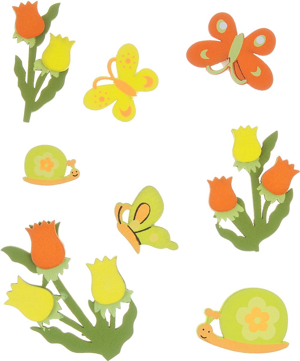 Набор декоративных элементов Hobby Time, 8 шт. 318498318498Набор Hobby Time состоит из 8 декоративных элементов, выполненных из дерева в виде цветов, бабочек и улиток. Задняя сторона изделий клейкая. Такой набор может пригодиться в оформлении предметов интерьера, подарков, открыток, цветочных букетов, а также в скрапбукинге. Необычные декоративные элементы добавят индивидуальности вашей творческой работе. Размер самого большого элемента: 4 см х 5,5 см. Размер самого маленького элемента: 2 см х 1,5 см.