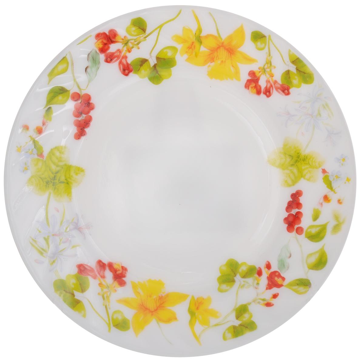 Тарелка десертная Chinbull Оттавиа, диаметр 18 смHP-70/6728Десертная тарелка Chinbull Оттавиа изготовлена из экологически чистой стеклокерамики. Изделие оформлено красочным рисунком и имеет изысканный внешний вид. Такая тарелка прекрасно подходит как для торжественных случаев, так и для повседневного использования. Идеальна для подачи десертов, пирожных, тортов и многого другого. Она прекрасно оформит стол и станет отличным дополнением к вашей коллекции кухонной посуды. Можно использовать в посудомоечной машине и СВЧ. Диаметр (по верхнему краю): 18 см. Высота стенки: 1,7 см.