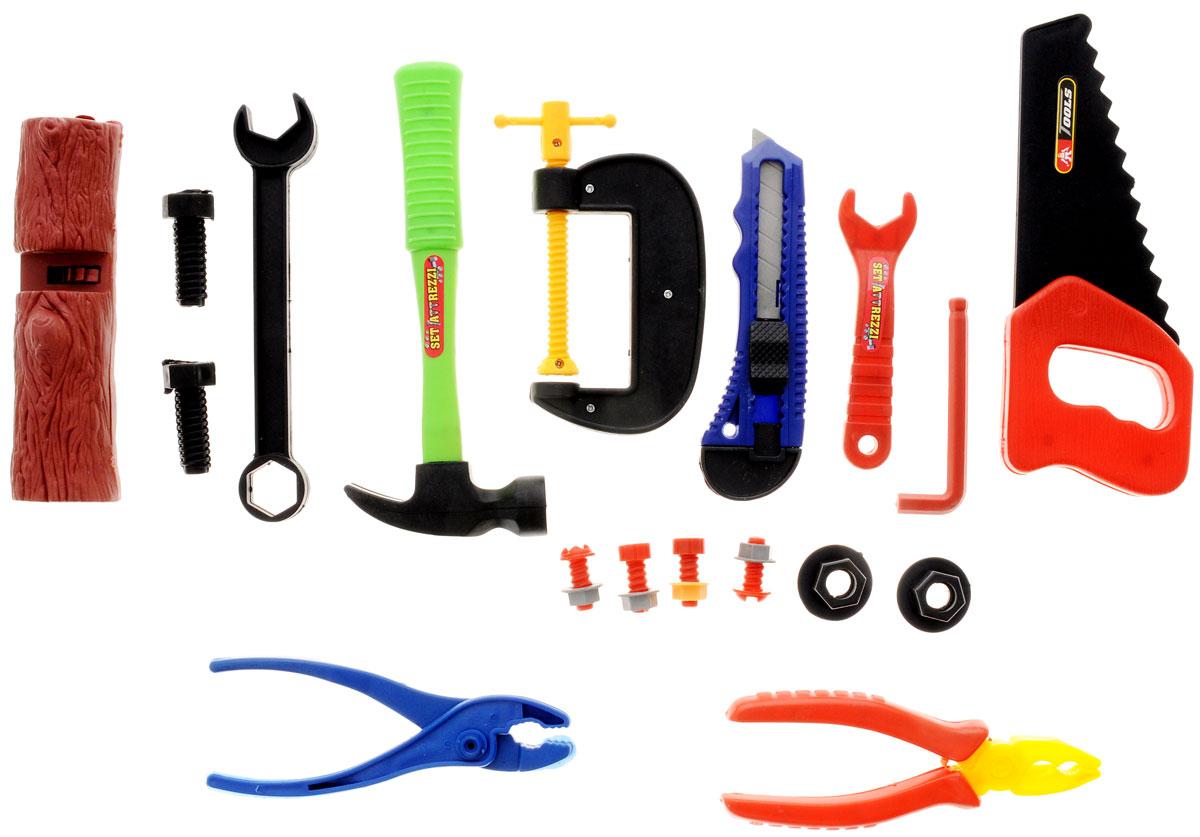 1TOY Игровой набор Профи мастер 14 предметовТ56254_с пилойНабор Профи-мастер состоит из большого выбора реалистичных инструментов для любой работы. В наборе 14 инструментов с такими аксессуарами, как болты и гайки. Среди инструментов вы найдете молоток, гаечные ключи, пилу, плоскогубцы, тиски, клещи, нож, шестигранник. Все составляющие набора изготовлены из безопасного качественного пластика. С помощью игрового набора с инструментами ребенок сможет обучиться быть более самостоятельным и хозяйственным. Играя в сюжетно-ролевые игры, у него развивается логическое мышление, координация движений и внимательность.