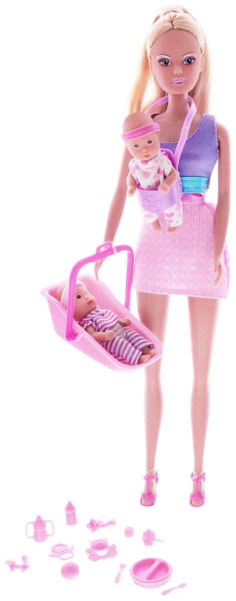 Simba Кукла Штеффи-няня5730211_юбка розовая, майка сиреневаяКукла Simba Штеффи-няня надолго займет внимание вашей малышки и подарит ей множество счастливых мгновений. Кукла изготовлена из пластика, ее голова, ручки и ножки подвижны, что позволяет придавать ей разнообразные позы. В комплект также входят 2 фигурки малышей с подвижными ручками, ножками и головками, люлька-переноска, переноска- кенгуру, и 12 аксессуаров для кормления и ухода за малышами. Куколка одета в удобное платье без рукавов, а на ногах у нее - стильные босоножки. Чудесные длинные волосы куклы так весело расчесывать и создавать из них всевозможные прически, плести косички и хвостики. Благодаря играм с куклой, ваша малышка сможет развить фантазию и любознательность, овладеть навыками общения и научиться ответственности, а дополнительные аксессуары сделают игру еще увлекательнее. Порадуйте свою принцессу таким прекрасным подарком!