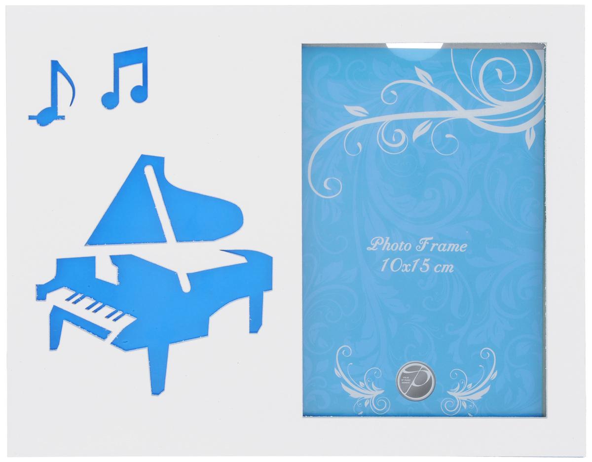 Фоторамка Pioneer Music. Рояль, цвет: белый, голубой, 10 х 15 см20255 D-YY5-Z124/126_голубойФоторамка Pioneer Music. Рояль поможет вам оригинально дополнить интерьер помещения. Фоторамка изготовлена из МДФ и стекла и оформлена перфорацией в виде гитары и нот. Задняя сторона оснащена ножкой для размещения на столе. Такая рамка позволит сохранить на память изображения дорогих вам людей и интересных событий вашей жизни, а также станет приятным подарком для каждого. Размер фоторамки: 17,5 см х 22,5 см.
