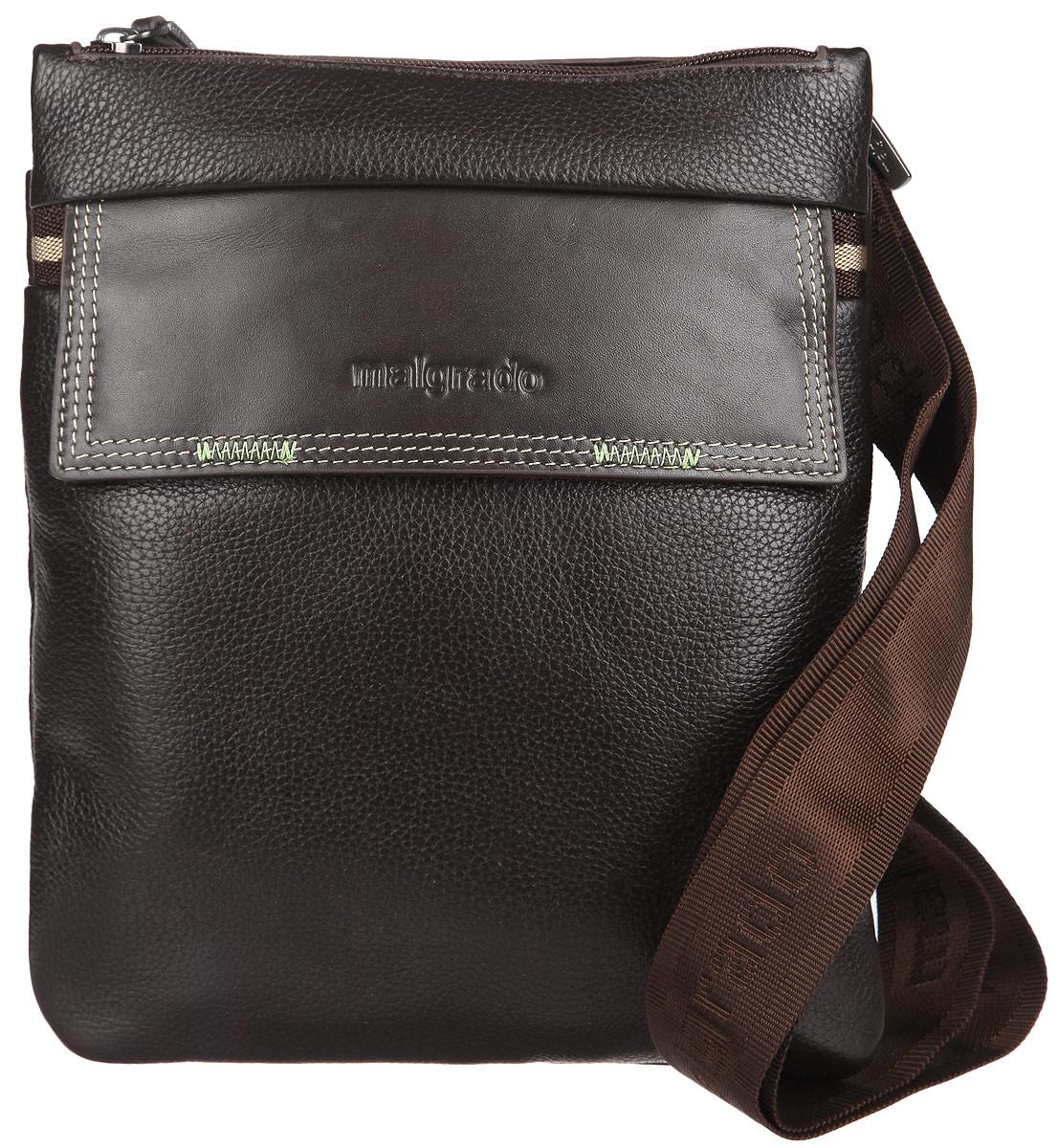 Сумка мужская Malgrado, цвет: коричневый. BR09-673BR09-673 brownСтильная мужская сумка Malgrado, выполнена из натуральной кожи с зернистой фактурой и оформлена металлической фурнитурой и символикой бренда. Изделие содержит одно основное отделение, которое закрывается на молнию. Внутри сумки размещен врезной карман на молнии. Снаружи, на тыльной стороне сумки, расположен накладной карман, закрывающийся на магнит. На лицевой стороне сумки расположен накладной карман, который закрывается клапаном на магниты. Изделие дополнено практичным плечевым ремнем регулируемой длины. Практичный аксессуар позволит вам завершить образ.