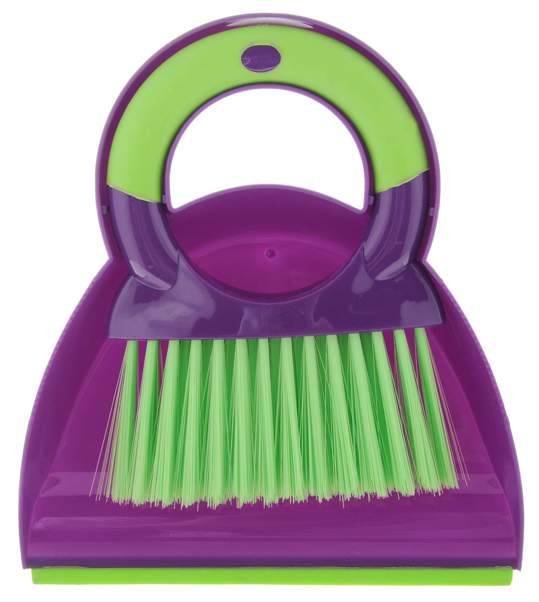 Комплект для уборки стола York Prestige, цвет: фиолетовый, салатовый, 2 предмета6211Комплект для уборки стола York Prestige состоит из щетки и совка, изготовленных из прочного пластика. Изделия помогут удалить крошки, не снимая скатерти. Эластичный ворс на щетке, изготовленный из полимера, не оставит от грязи и следа. Удобная форма совка позволит эффективно и быстро совершить уборку в любом помещении. Изделия также оснащены отверстиями для подвешивания. Длина щетки: 17 см. Длина ворса: 6 см. Размер рабочей поверхности совка: 18 см х 13,5 см. Размер совка (с учетом ручки): 18 см х 21 см х 5 см.