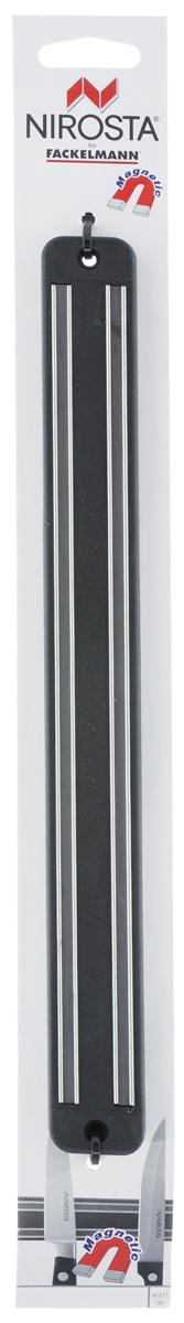 Планка-держатель для ножей Nirosta, магнитная, длина 33 см41377Планка-держатель для ножей Nirosta выполнена из полипропилена с магнитными вставками и предназначена для удобного хранения ножей или других металлических приборов. Крепкие магнитные полосы надежно удержат все приборы. Теперь кухонные принадлежности не нужно искать, они надежно прикреплены к держателю и всегда на видном месте. Длина держателя: 33 см. Общий размер держателя (ДхШхВ): 33 см х 3,5 см х 1,5 см.