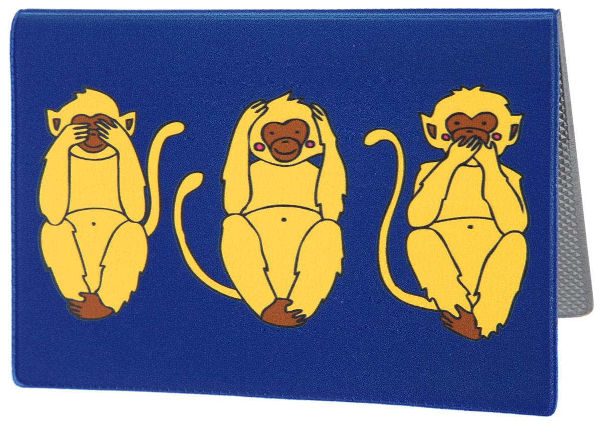 Обложка для паспорта Три мудрых обезьяны на синем. OZAM388OZAM388Яркая обложка для паспорта Mitya Veselkov Три мудрых обезьяны на синем выполнена из поливинилхлорида и оформлена принтом с изображением обезьянок. Изделие раскладывается пополам. Внутри расположены два накладных кармана. Обложка для паспорта поможет сохранить внешний вид ваших документов и защитить их от повреждений, а также станет стильным аксессуаром, который подчеркнет ваш образ.