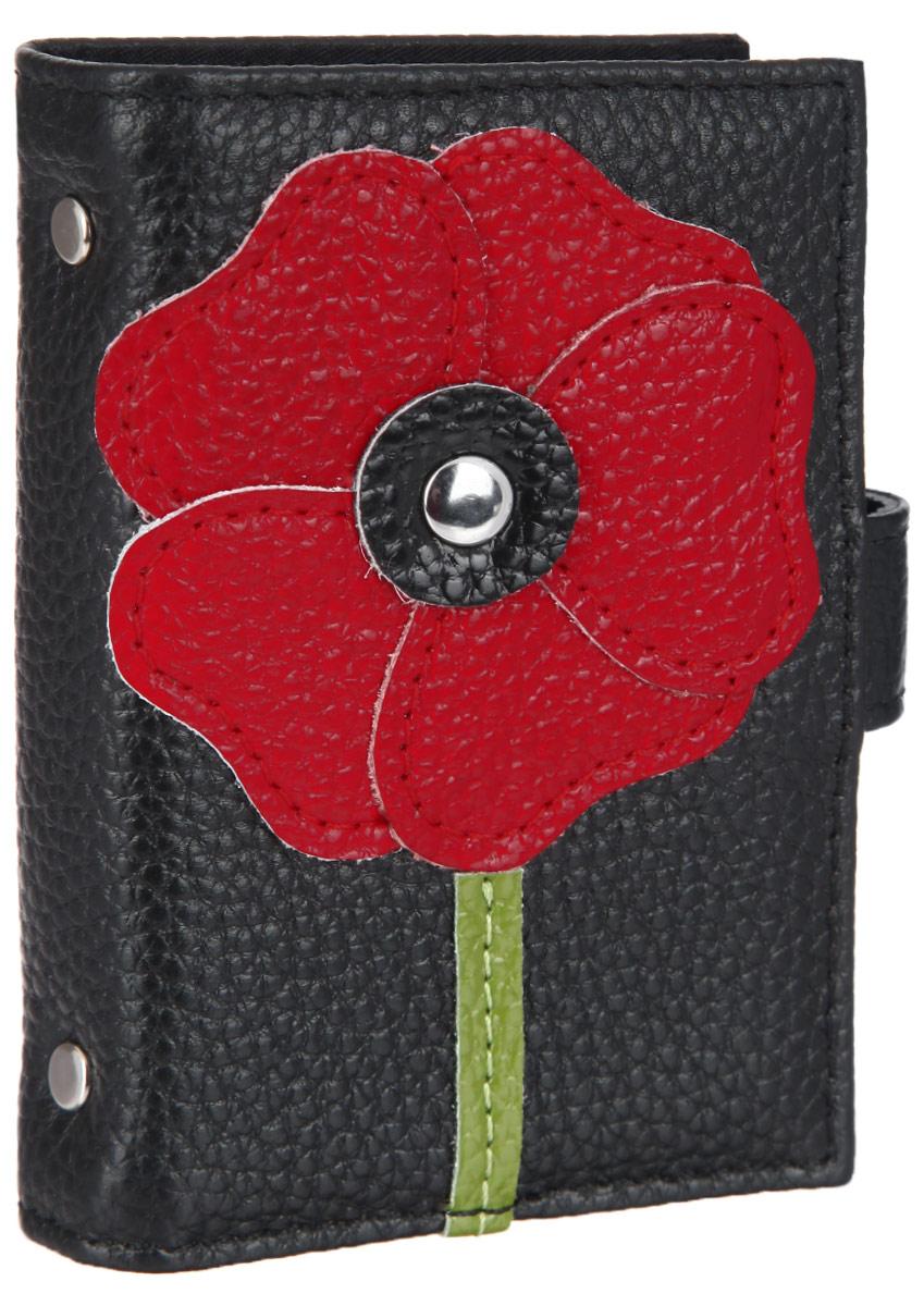 Визитница женская Cheribags, цвет: черный, красный, зеленый. V-32V-32Оригинальная визитница Cheribags выполнена из натуральной кожи с зернистой фактурой и оформлена аппликацией из кожи в виде цветка. Изделие раскладывается пополам и закрывается хлястиком на кнопку. Внутри расположен блок, состоящий из двадцати шести пластиковых файлов для визиток. Визитница Cheribags станет замечательным подарком человеку, ценящему качественные и практичные вещи.