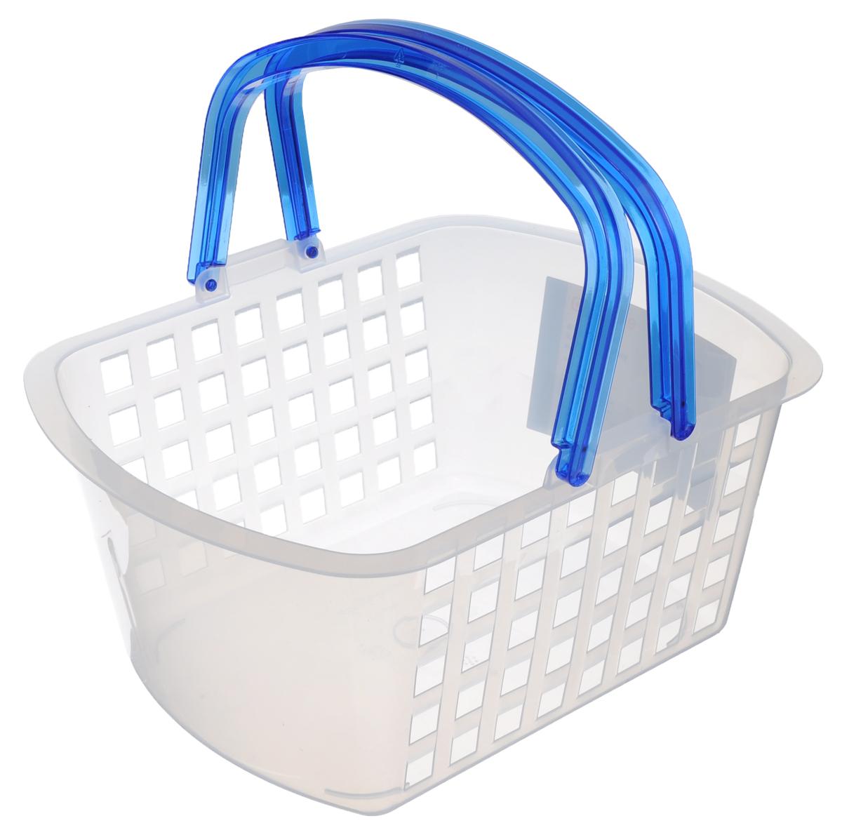 Корзинка универсальная Econova, цвет: прозрачный, синий, 31 см х 24 см х 15 см193415_белый, ручки синиеУниверсальная корзина Econova, изготовленная из высококачественного прочного пластика, предназначена для хранения мелочей в ванной, на кухне, даче или гараже. Изделие оснащено двумя удобными складными ручками. Это легкая корзина со сплошным дном, жесткой кромкой и небольшими отверстиями позволяет хранить мелкие вещи, исключая возможность их потери.