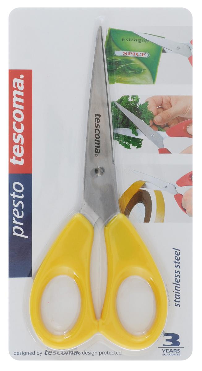 Ножницы Tescoma Presto, универсальные, цвет: желтый, 16 см888210_желтыйНожницы Tescoma Presto, легкие и удобные в использовании, изготовлены из первоклассной нержавеющей стали. Ручки выполнены из прочной пластмассы. Универсальные ножницы пригодны для резки всех материалов - бумаги, ткани, и других. Общая длина ножниц: 16 см. Длина лезвия: 10 см