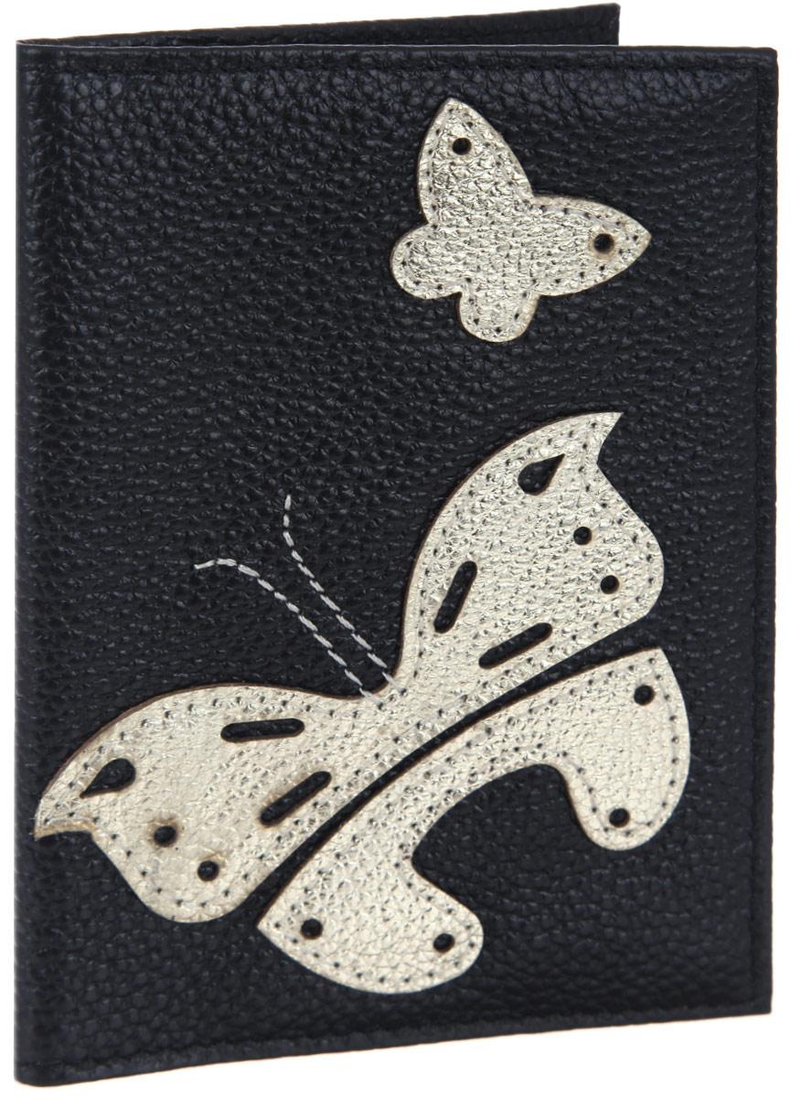 Обложка для паспорта женская Cheribags, цвет: черный, золотой. OP-5OP-5Оригинальная обложка для паспорта Cheribags выполнена из натуральной кожи с зернистой фактурой и оформлена аппликацией из кожи в виде бабочек. Изделие раскладывается пополам. Внутри расположены два накладных кармана из пластика. Обложка для паспорта Cheribags поможет сохранить внешний вид ваших документов и защитить их от повреждений, а также станет стильным аксессуаром, который подчеркнет ваш образ.