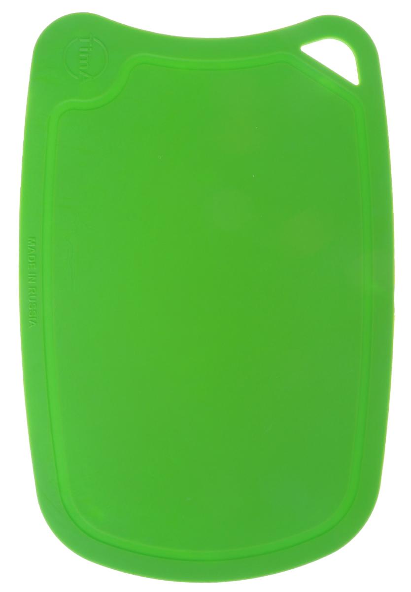 Доска разделочная TimA, цвет: зеленый, 28 х 19 смДРГ-2819_зеленыйГибкая разделочная доска TimA, изготовленная из высококачественного полиуретана, займет достойное место среди аксессуаров на вашей кухне. Благодаря гибкости, с доски удобно высыпать нарезанные продукты. Она не тупит металлические и керамические ножи. Не впитывает влагу и легко моется. Обладает исключительной прочностью и износостойкостью. Доска плотно прилегает к любой поверхности стола, не скользит. По краю доски проходит желоб, который предохраняет от растекания жидкости. Не вступает в химическую реакцию с продуктами, не выделяет вредных веществ. Предотвращает размножение болезнетворных микроорганизмов на поверхности доски. Доска TimA прекрасно подойдет для нарезки любых продуктов.