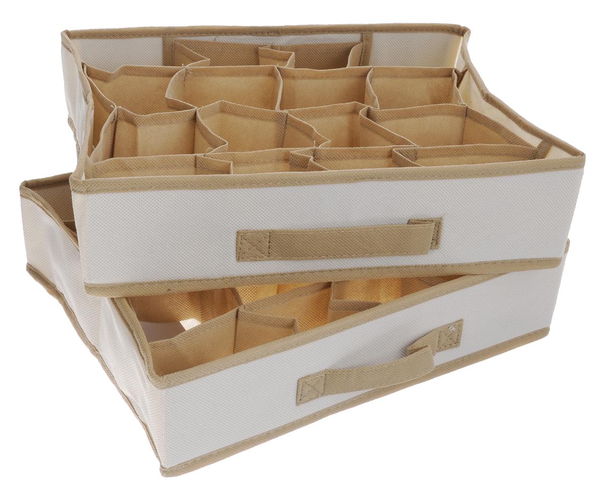 Чехол-коробка для одежды Cosatto Voila, цвет: бежевый, 16 отделений, 2 штCOVLCST002_бежевыйЧехол-коробка Cosatto Voila поможет легко и красиво организовать пространство в кладовой, спальне или гардеробе. Изделие выполнено из дышащего нетканого материала (полипропилен). Практичный и долговечный чехол оснащен 16 отделениями для более экономичного использования пространства шкафов и комодов. Нижнее белье, купальники, ремни и прочие мелкие предметы будут всегда находиться на своем месте. Прочность каркаса обеспечивается наличием плотных листов картона. Складная конструкция обеспечивает компактное хранение. Размер отделения: 9 см х 8 см х 9 см.