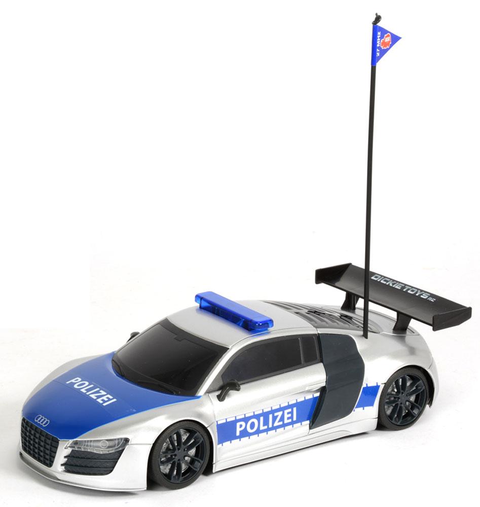 Dickie Toys Машина на радиоуправлении Полицейский патруль19059Машина на радиоуправлении Полицейский патруль привлечет к себе внимание не только ребенка, но и взрослого, и станет отличным подарком любителю автомобилей. Она представляет собой уменьшенную копию полицейской машины. Модель с двухканальным управлением изготовлена из прочных материалов и обладает высокой стабильностью движения, что позволяет полностью контролировать его процесс, управляя уверенно и без суеты. Машина оснащена звуковыми и световыми эффектами: во время игры под звуки сирены у нее подсвечиваются фары и мигалка. При помощи пульта управления автомобиль может перемещаться вперед-влево-вправо, назад-влево-вправо и останавливаться. Максимальная скорость движения - 8 км/ч. В набор входит машина, антенна, пульт радиоуправления и батарейки. Ваш ребенок часами будет играть с моделью, придумывая различные истории и устраивая соревнования. Порадуйте его таким замечательным подарком! Машина работает от 6 батареек напряжением 1,5V типа АА (входят в...