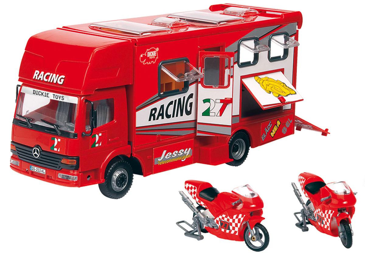 Dickie Toys Трейлер для мотогонок c 2 мотоциклами цвет красный3414861_красныйТрейлер Dickie Toys непременно понравится вашему ребенку. Игрушка выполнена из прочного пластика в виде трейлера для мотогонок. Кабина водителя наклоняется вперед, задняя стенка машины откидывается, превращаясь в трап. Крыша трейлера сдвигается назад, открывая доступ в оборудованную комнату отдыха. У модели открываются двери, окна и 2 люка в крыше. Колеса игрушки свободно вращаются. В комплект входят 2 пластиковых мотоцикла, прорезиненные колеса которых имеют свободный ход, а также 2 подставки для них. С такой игрушкой ваш малыш будет часами занят увлекательной игрой. Порадуйте его таким замечательным подарком!
