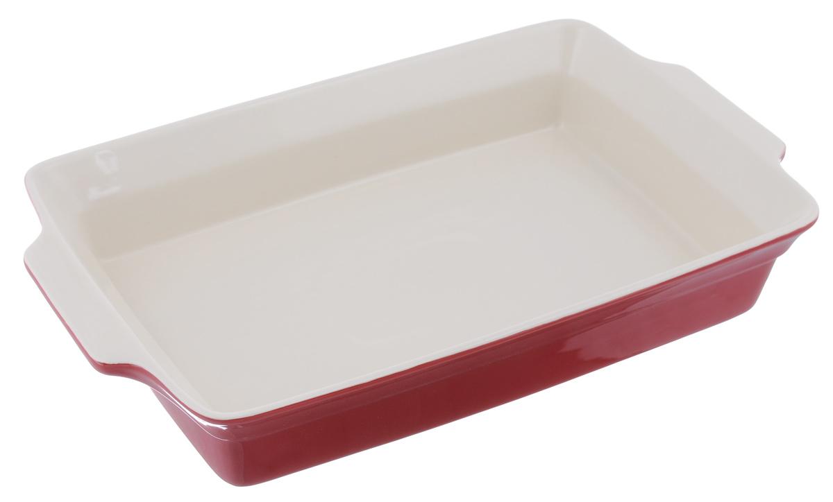 Противень Mayer & Boch, прямоугольный, цвет: красный, 38,2 см х 23 см21813_красныйПротивень Mayer & Boch изготовлен из высококачественной керамики. Керамика не содержит вредных примесей ПФОК, что способствует здоровому и экологичному приготовлению пищи. Противень - незаменимый атрибут для приготовления запеканок, всевозможных блюд из мяса и овощей, а также выпечки из теста и изысканных кондитерских блюд. Изделие оснащено двумя удобными ручками. Подходит для газовых и электрических плит. Можно использовать в микроволновой печи. Можно мыть в посудомоечной машине. Размер противня (с учетом ручек): 38,2 см х 23 см. Внутренний размер противня (без учета ручек): 34 см х 23 см. Высота стенок противня: 6,5 см.