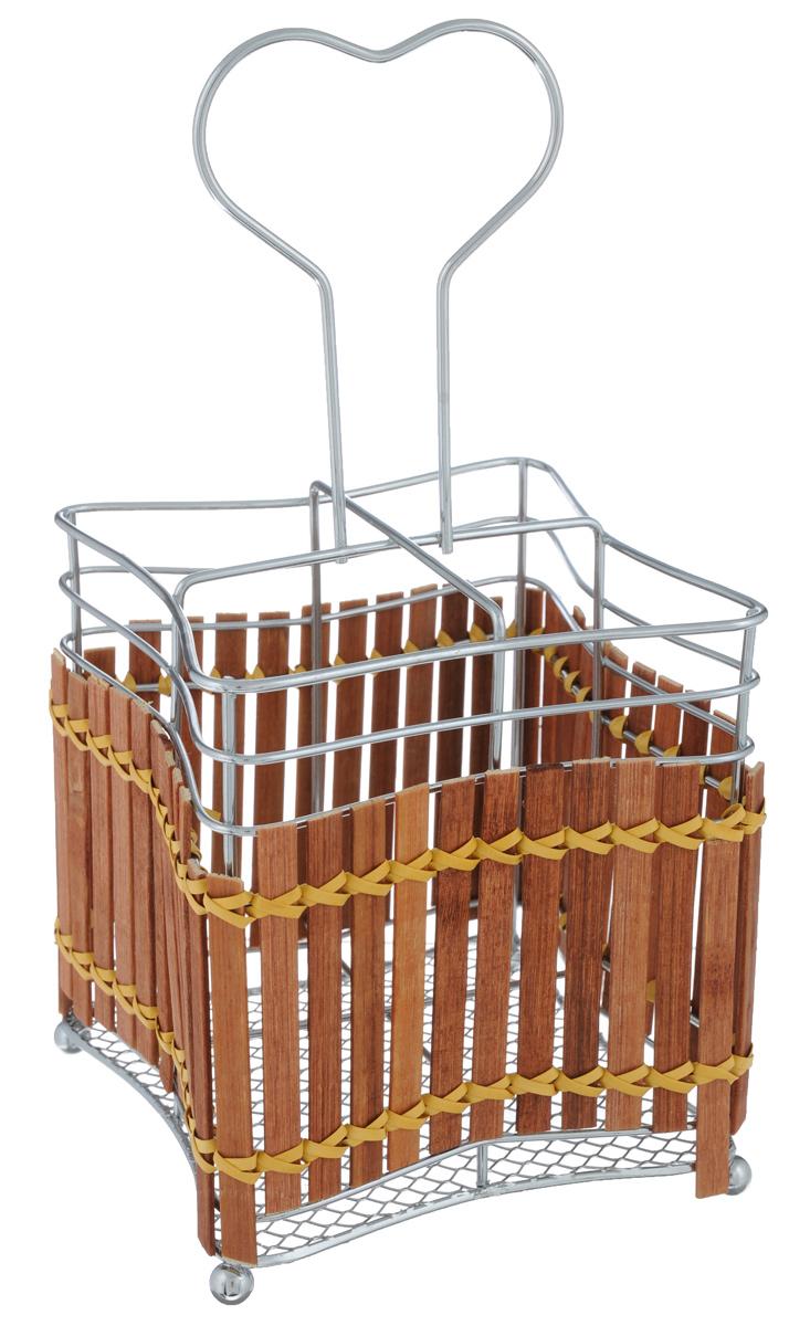 Подставка для столовых приборов Mayer & Boch. 86368636-1_хром/плетенкаПодставка для столовых приборов Mayer & Boch представляет собой каркас из нержавеющей стали со стальной сеткой в нижней части. Корпус подставки декорирован деревянной плетенкой. Разделенная на четыре секции данная подставка позволяет аккуратно хранить основные типы столовых приборов: ножи, ложки, вилки, чайные ложки. Подставка снабжена удобной ручкой. Вы можете установить ее в любом месте. Такая подставка для столовых приборов станет полезным аксессуаром в домашнем быту и идеально впишется в интерьер современной кухни.