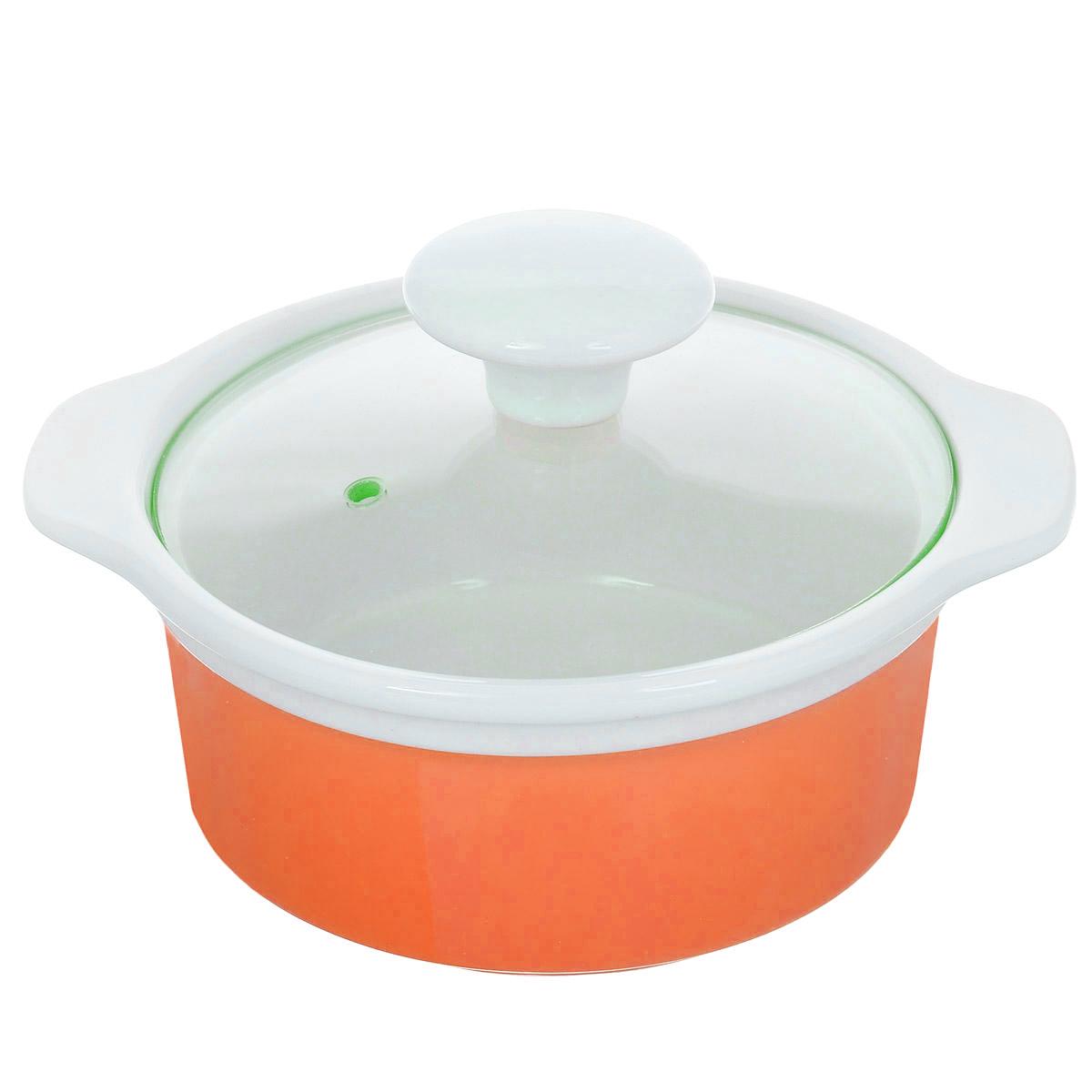 Кастрюля с крышкой, цвет: оранжевый, 0,6 л. CX002S-SR (F)