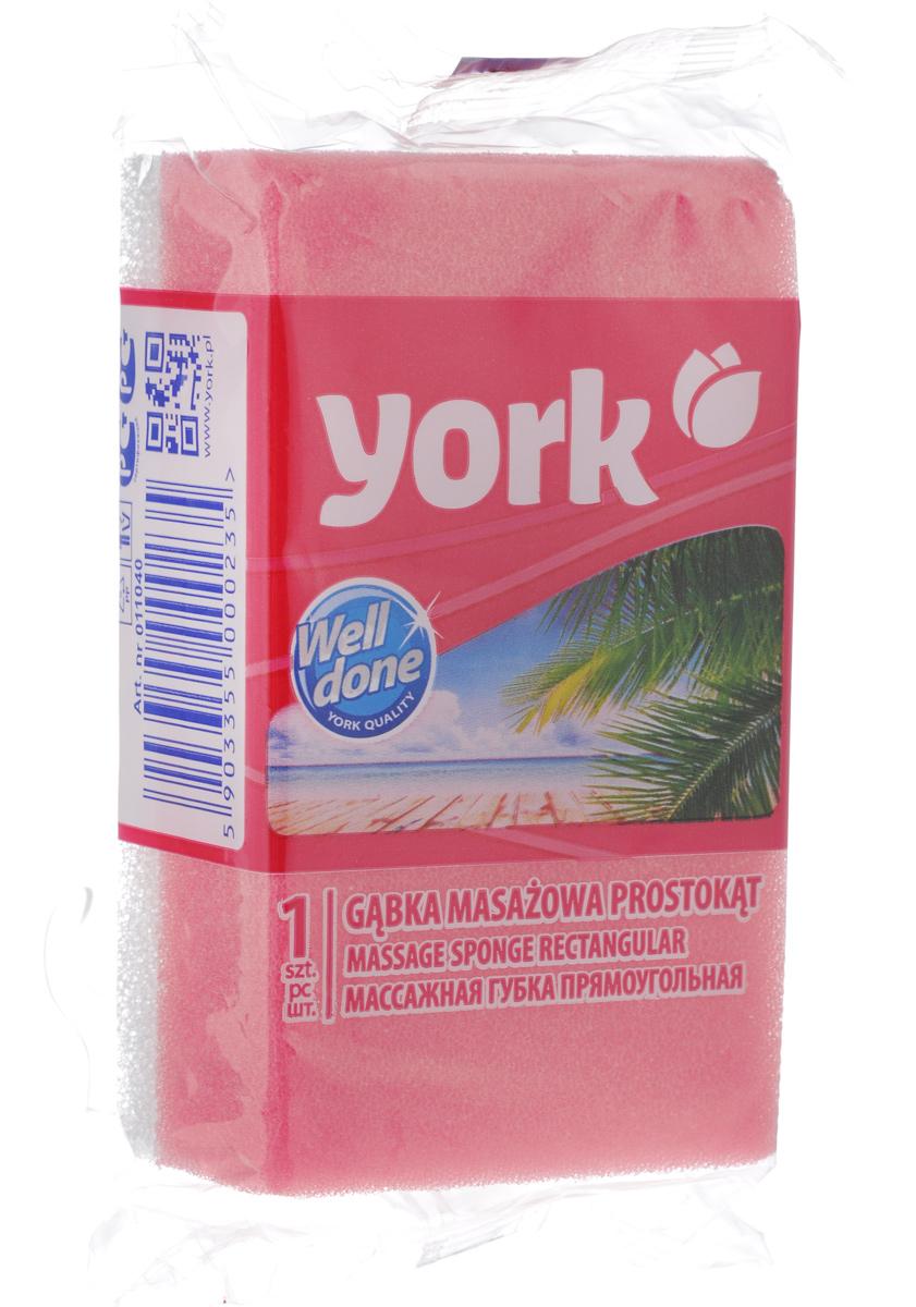 """Губка для тела ''York"""", массажная, цвет: розовый, белый, 13,5 х 7,5 х 4,2 см"""