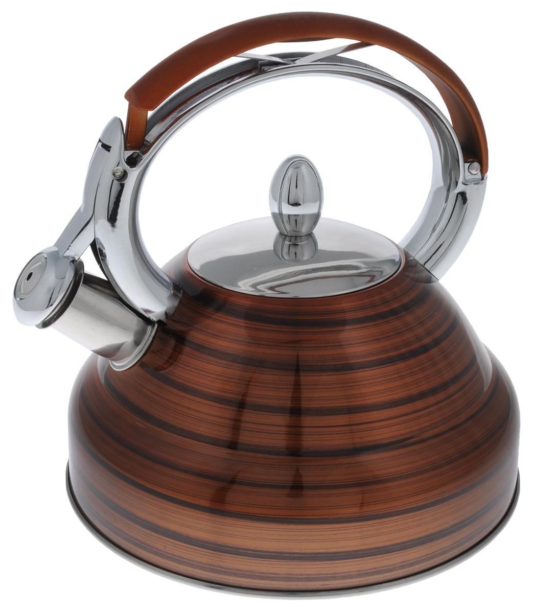 Чайник Mayer & Boch, со свистком, цвет: коричневый, 2,7 л. 2320523205_коричневыйЧайник Mayer & Boch выполнен из высококачественной нержавеющей стали, что делает его весьма гигиеничным и устойчивым к износу при длительном использовании. Носик чайника оснащен насадкой-свистком, что позволит вам контролировать процесс подогрева или кипячения воды. Фиксированная ручка, изготовленная из нейлона и цинка, дает дополнительное удобство при наливании напитка. Поверхность чайника гладкая, что облегчает уход за ним. Эстетичный и функциональный, с эксклюзивным дизайном, чайник будет оригинально смотреться в любом интерьере. Подходит для всех типов плит, включая индукционные. Можно мыть в посудомоечной машине. Высота чайника (без учета ручки и крышки): 11,5 см. Высота чайника (с учетом ручки и крышки): 24 см. Диаметр чайника (по верхнему краю): 10 см.