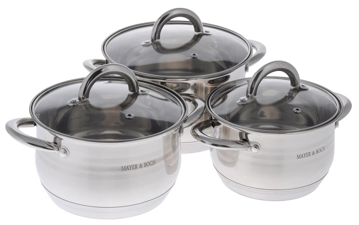 Набор посуды Mayer & Boch, 6 предметов. 2403924039Набор посуды Mayer & Boch состоит из трех кастрюль с крышками. Изделия выполнены из высококачественной нержавеющей стали 18/10 с зеркальной полировкой, которая обеспечивает быстрый подогрев пищи и поддержание тепла. Литые ручки из нержавеющей стали для удобства эксплуатации. В комплекте предусмотрены крышки, выполненные из жаропрочного стекла. Крышки позволяют наблюдать за приготовлением пищи без потери тепла, они плотно прилегают к краям посуды, сохраняя аромат блюд. Этот набор кастрюль предназначен для здорового и экологичного приготовления пищи. Приготовление пищи с небольшим количеством воды позволит продуктам сохранить витамины и минералы. Кастрюли идеальны для приготовления диетических блюд. Можно использовать на всех типах плит, включая индукционные. Можно мыть в посудомоечной машине. Объем кастрюль: 2 л, 2,8 л, 3,8 л. Диаметр кастрюль: 16 см, 18 см, 20 см. Высота стенок кастрюль: 10 см, 11 см, 12 см. Ширина кастрюль...
