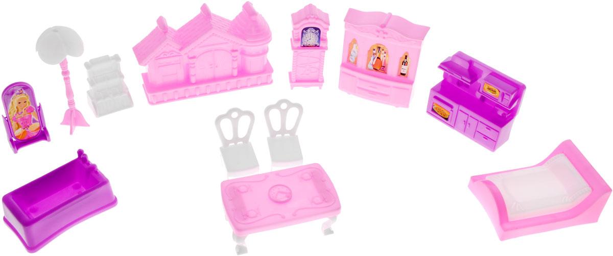 Набор мебели для кукол My Dreamy & Castle1132695, 655Набор мебели My Dreamy & Castle - это замечательный игровой набор, который станет отличным подарком для вашего ребенка. Придумывая множество ситуаций ребенок весело и интересно проведет время. Детали выполнены из качественного и прочного материала ярких цветов. Набор включает в себя 12 предметов: 2 стула, кровать, торшер, стол и другую мебель. Игра с таким набором способствует развитию детского воображения, мелкой моторики рук и фантазии. Порадуйте своего ребенка таким набором мебели для кукол.