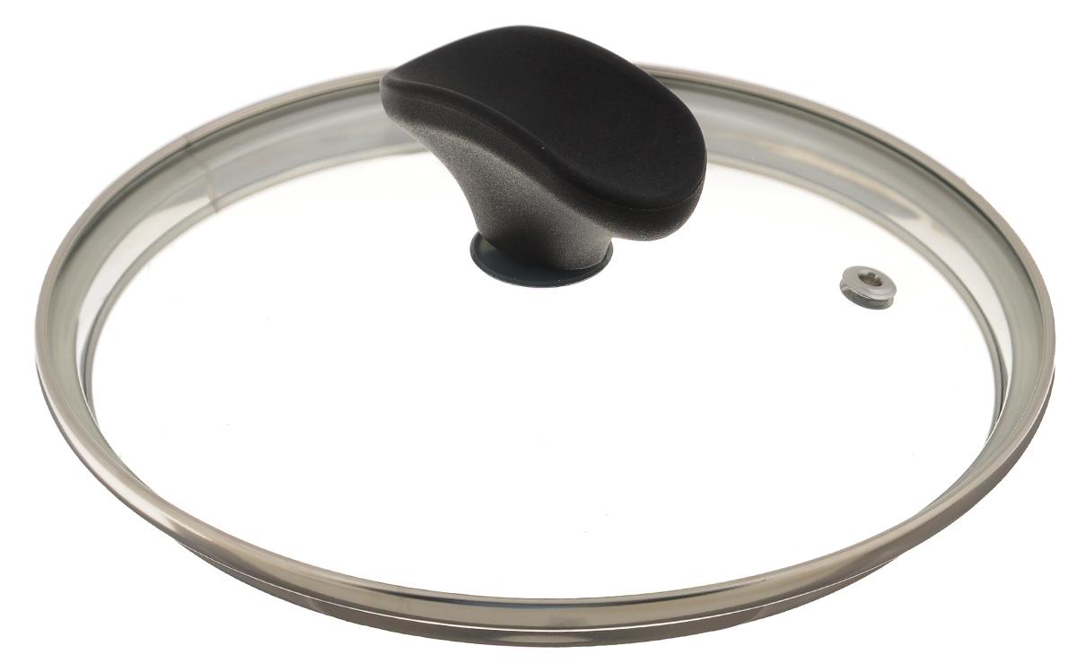 Крышка стеклянная TVS. Диаметр 16 см94651160034201Крышка TVS, изготовленная из стекла, имеет стальной обод, благодаря чему идеально прилегает к посуде и обеспечивает равномерное распределение температуры внутри нее. Имеется отверстие для выпуска пара. Стильная стеклянная крышка имеет удобную бакелитовую ручку. Можно мыть в посудомоечной машине. Не использовать в духовом шкафу и СВЧ-печи. Высота крышки (с учетом ручки): 6 см.