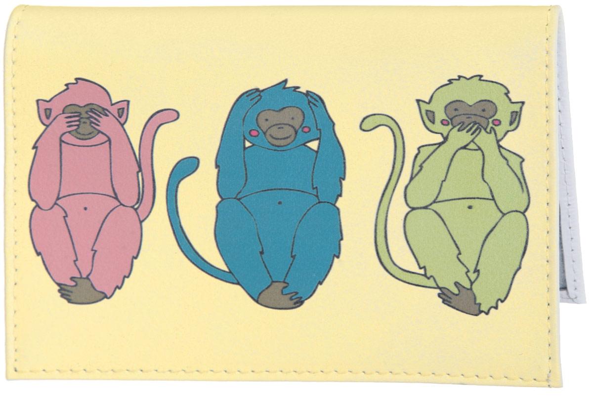 Визитница Три мудрых обезьяны на светло-желтом. VIZIT310VIZIT-310Стильная визитница Mitya Veselkov Три мудрых обезьяны на светло-желтом выполнена из натуральной кожи и оформлена принтом с изображением обезьянок. Изделие раскладывается пополам. Внутри расположены два накладных кармана из пластика и пластиковый вкладыш, состоящий из восемнадцати файлов для визиток. Такая визитница станет замечательным подарком человеку, ценящему качественные и практичные вещи.