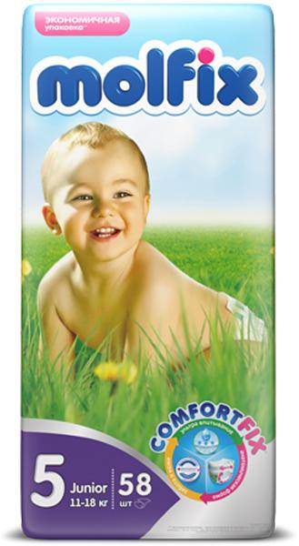 Molfix Подгузники Джуниор 11-18 кг 58 шт14918Подгузники Molfix сделают жизнь малыша и его родителей удобнее и комфортнее. Ни для кого не секрет, что каждая мама хочет обеспечить защиту и комфорт для своего малыша. Премиальные подгузники Molfix отвечают самым высоким стандартам качества категории и соответствуют ожиданиям даже самых взыскательных мам: они отлично впитывают, тонкие и эластичные, обеспечивают малышам надежную защиту, комфорт и хорошее настроение. Подгузники оснащены ультравпитывающим слоем и имеют защитные барьеры от протекания. Ультраэластичные боковинки, мягкие резиночки и тонкая анатомическая структура обеспечивают более плотное прилегание подгузников, тем самым препятствуя протеканиям, а дышащий внешний слой великолепно пропускает воздух. Ультрамягкий внутренний слой идеально подходит для нежной и чувствительной кожи малышей. Эластичные застежки подгузников могут использоваться многократно и не теряют своих свойств от попадания крема, присыпки и детского масла. Удобные подгузники подарят...