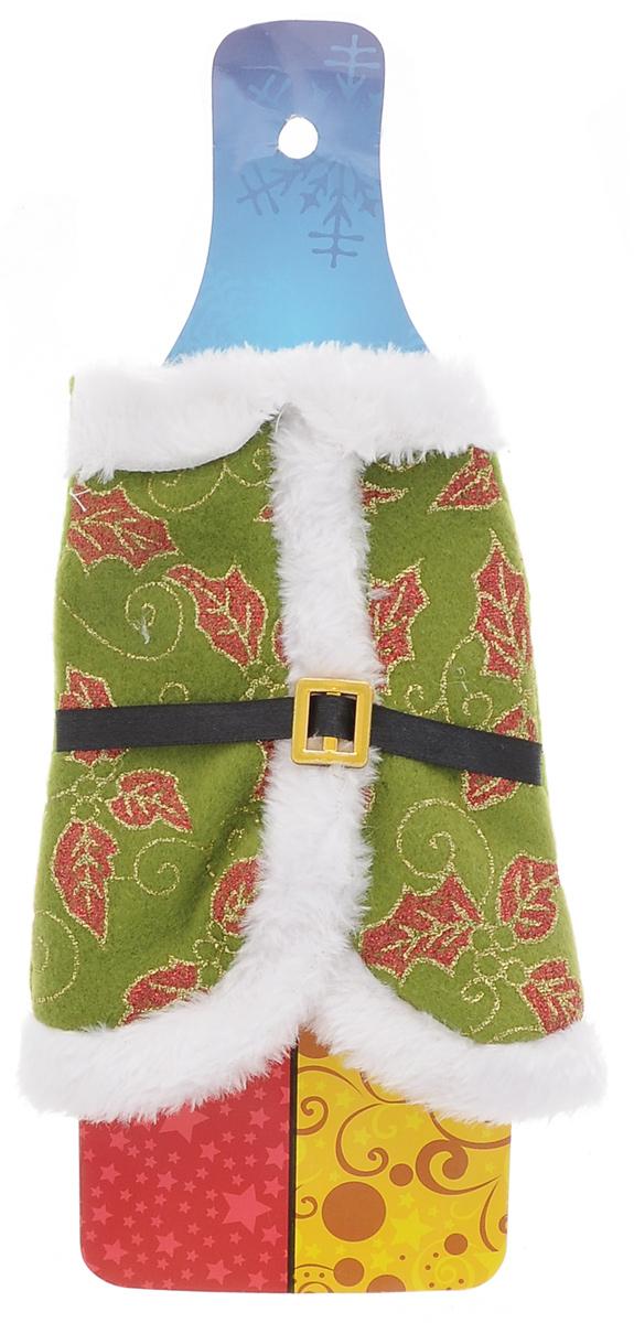 Декоративное украшение на бутылку Lunten Ranta Новогодняя накидка, цвет: зеленый, 19 х 15 см58988_2Декоративное украшение Lunten Ranta Новогодняя накидка - это прекрасный вариант оформления новогодней бутылки, благодаря которой ваш стол будет по-настоящему праздничный. Изделие выполнено из полиэстера в виде шубки, декорировано белой опушкой и черным пояском, а также узором в виде листочков. Создайте в своем доме по-настоящему сказочную атмосферу новогодней ночи и поразите гостей необычным оформлением праздничного стола.
