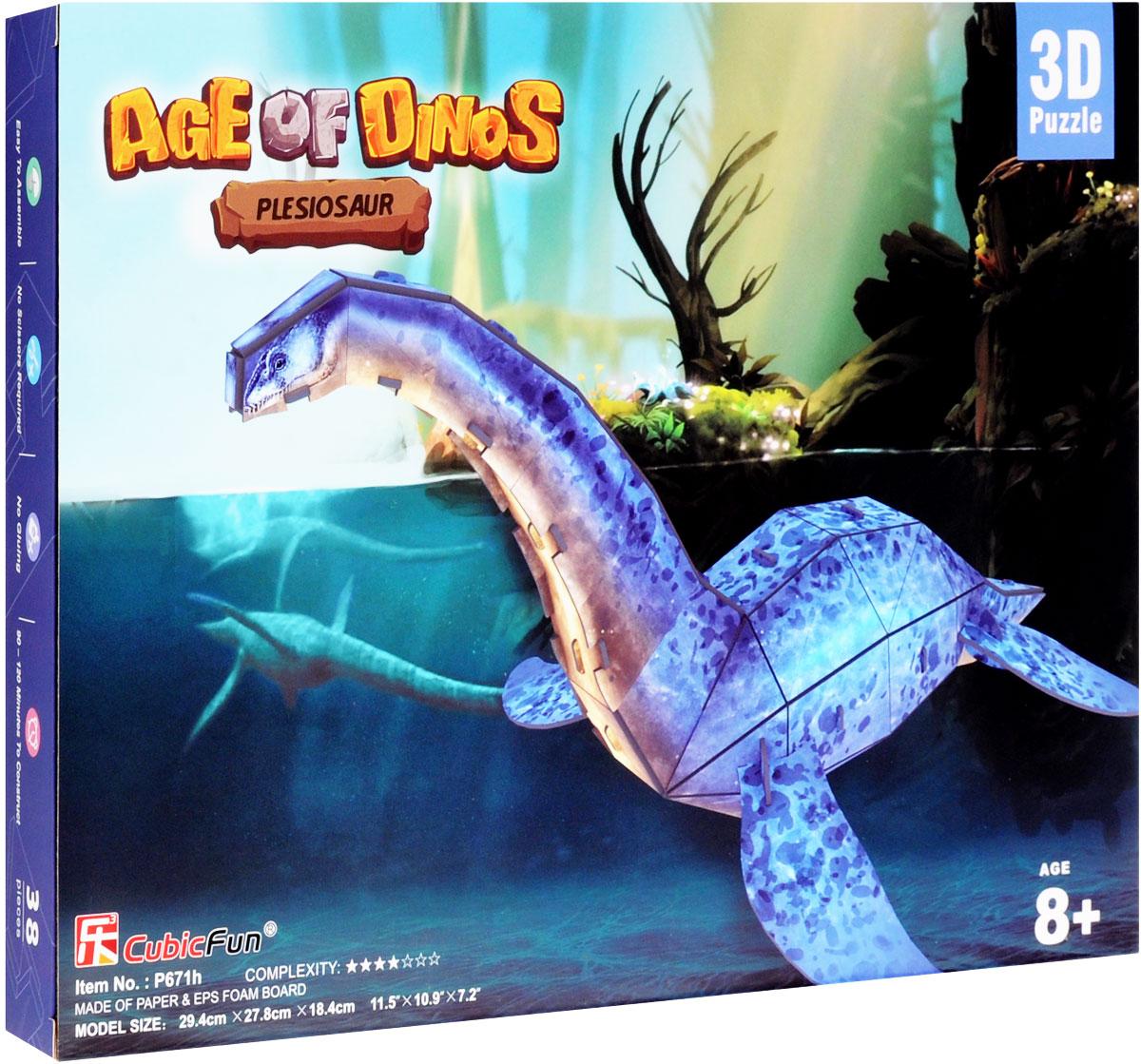 CubicFun 3D пазл Эра Динозавров ПлезиозаврP671h3D пазл CubicFun Эра Динозавров. Плезиозавр надолго увлечет вас и вашего малыша. Теперь ваш ребёнок сможет собрать 3D-модель одного из ужасных доисторических обитателей нашей планеты - плезиозавра! 3D пазл включает в себя 38 элементов из мягкого вспененного полимера и бумаги, а также иллюстрированную инструкцию. Конструктор невероятно прост в применении - вам не понадобятся ножницы или клей, все элементы легко извлекаются из рамок путем выдавливания и соединяются благодаря вырубкам. Пазл порадует вас высоким качеством исполнения и детализации и подарит вашему малышу множество веселых мгновений. Готовый макет станет предметом гордости малыша, он будет великолепным украшением любого интерьера или подарком для родных и близких. Порадуйте своего малыша таким прекрасным подарком! Сложность игрушки: 4 звезды из 7.