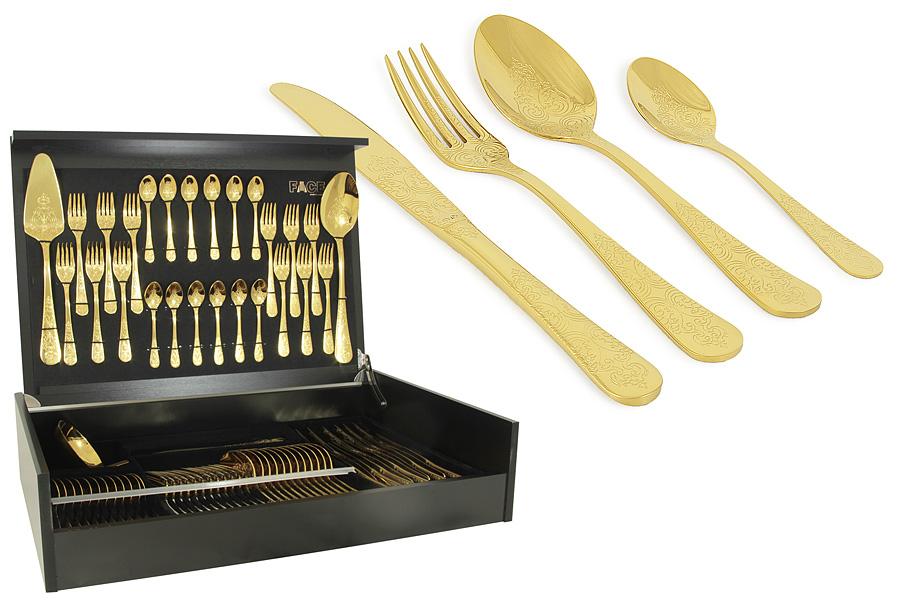 Набор столовых приборов 75 предметов на 12 персон Antique Titanium Gold в деревянной коробке. F-ANTG/75-ALF-ANTG/75-ALСтоловые приборы - неотъемлемая часть сервировки стола в каждом доме. При выборе столовых приборов следует обращать внимание на качество и материал, из которого они произведены. Для интенсивного использования лучше всего подходят столовые приборы из высококачественной нержавеющей стали с маркировкой 18/10 и толщиной не менее 3мм. Такие изделия гигиеничны, прочны и долгие годы служат своим владельцам.